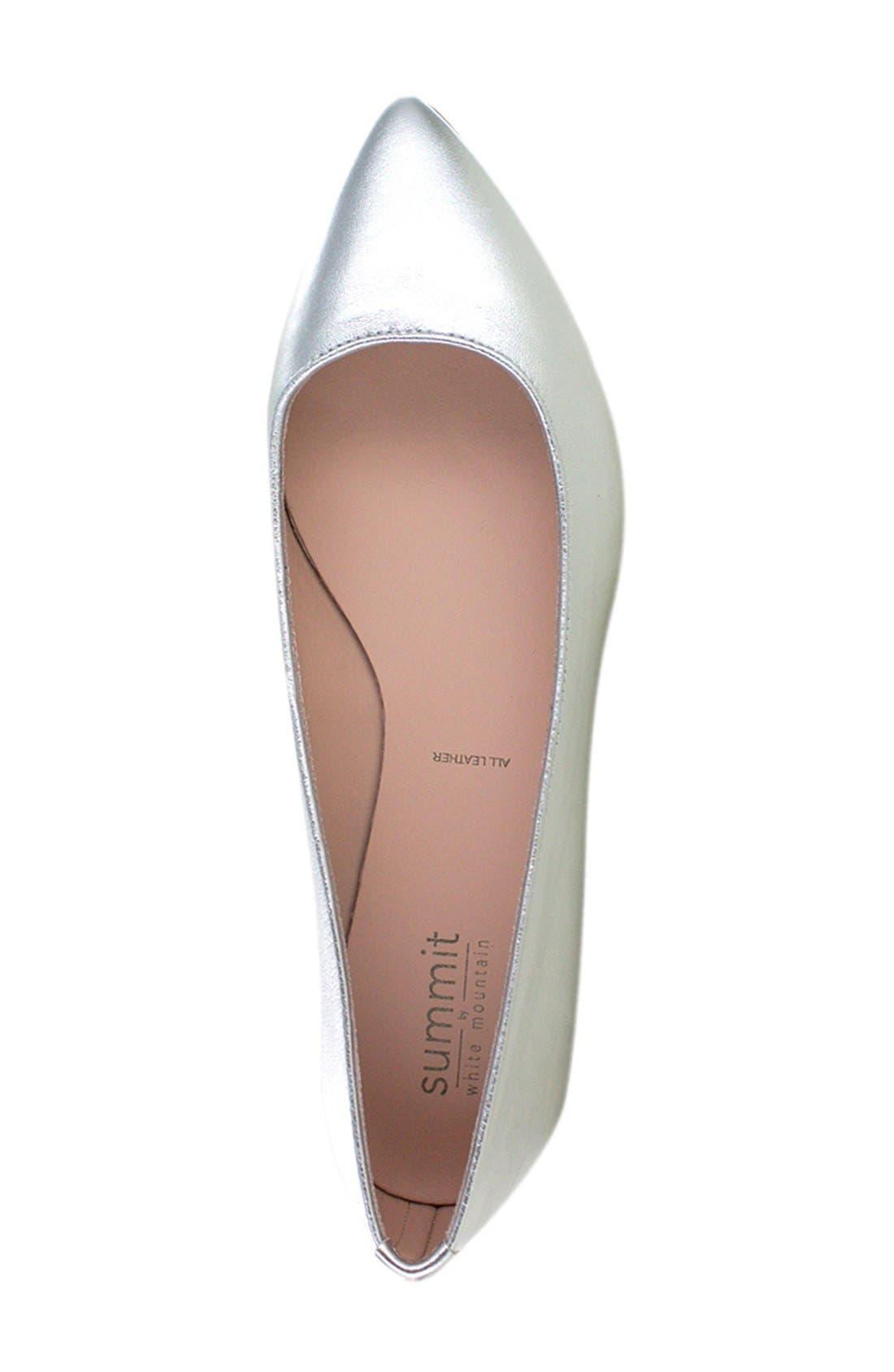 'Kamora' Pointy Toe Flat,                             Alternate thumbnail 3, color,                             Silver Metallic Leather