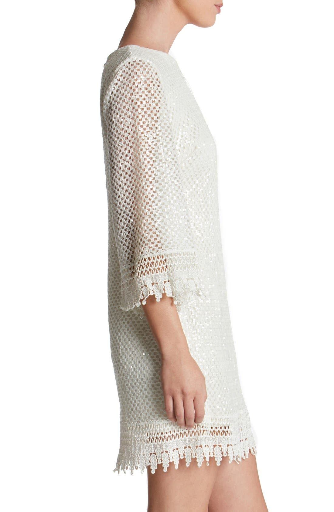 'Phoebe' Sequin Crochet Shift Dress,                             Alternate thumbnail 3, color,                             White