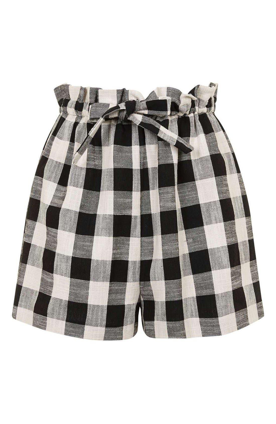 Alternate Image 4  - Topshop Gingham Paperbag Shorts