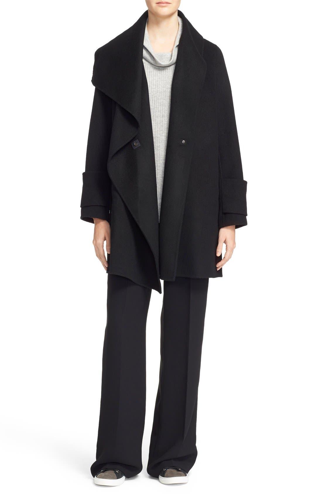 Drape Neck Wool Blend Coat,                         Main,                         color, Black