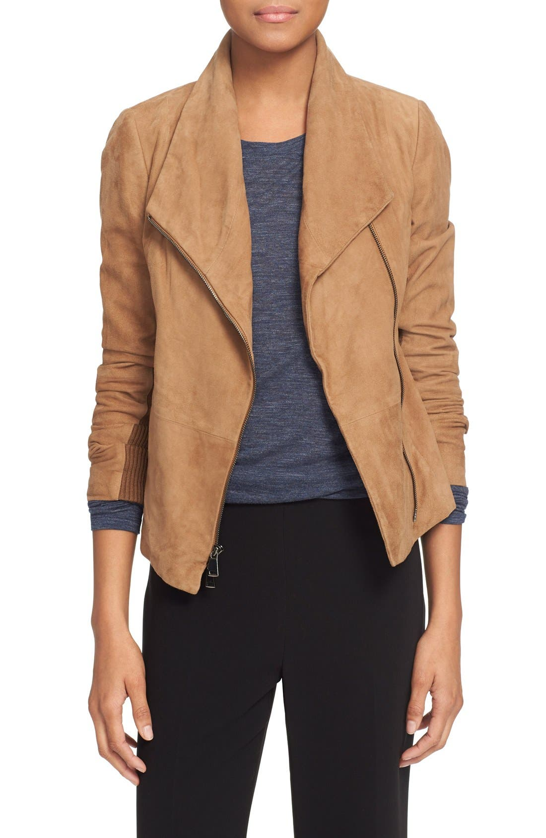 Suede Scuba Jacket,                         Main,                         color, Taupe