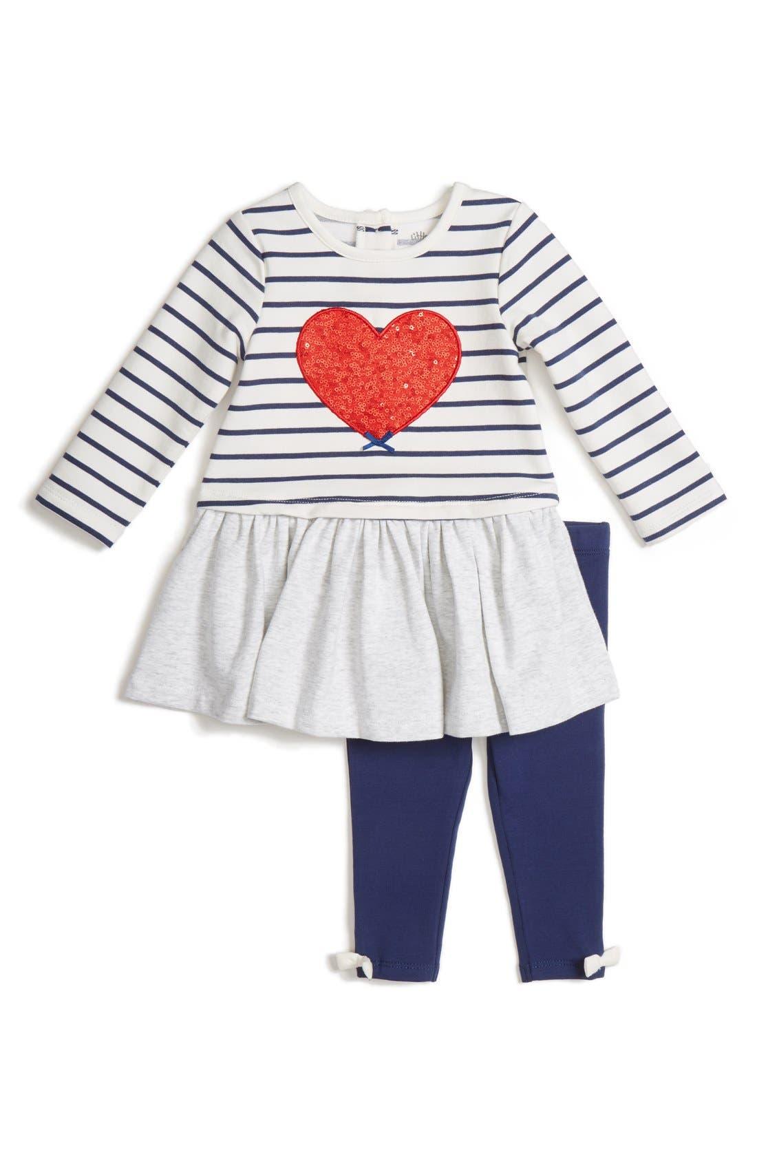 Alternate Image 1 Selected - Little Me 'Heart' Dress & Leggings Set (Baby Girls)