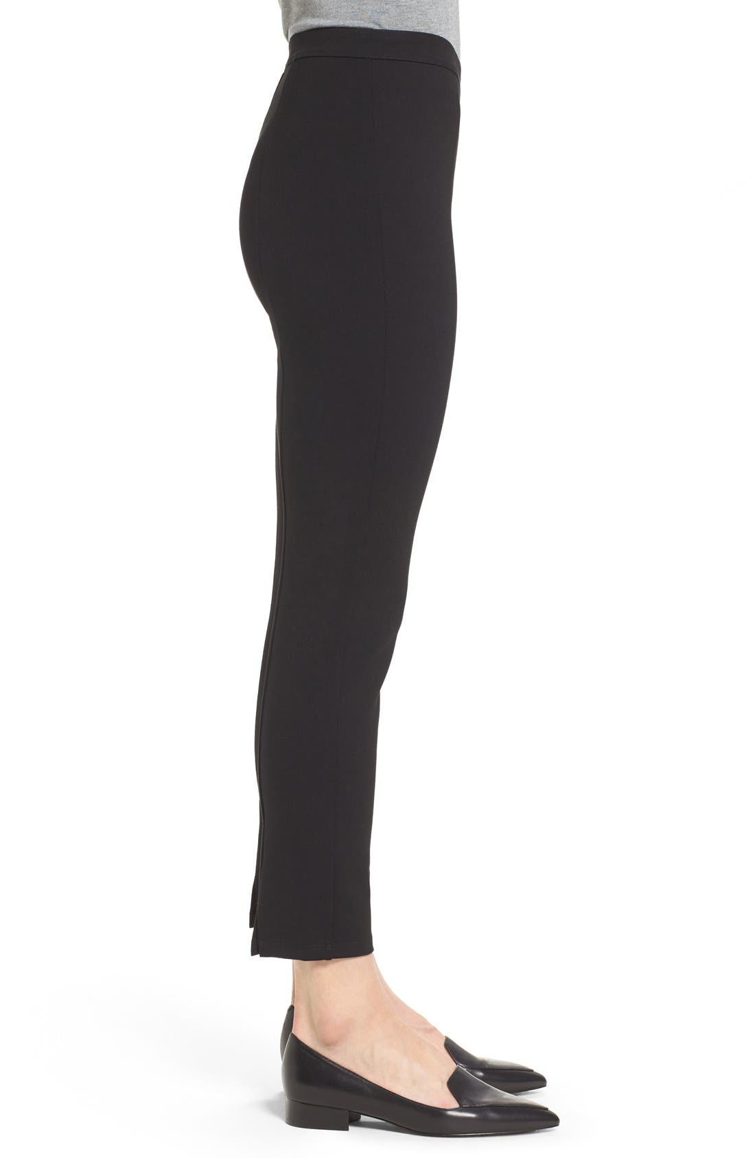 Side Zip Ponte Ankle Pants,                             Alternate thumbnail 4, color,                             Black