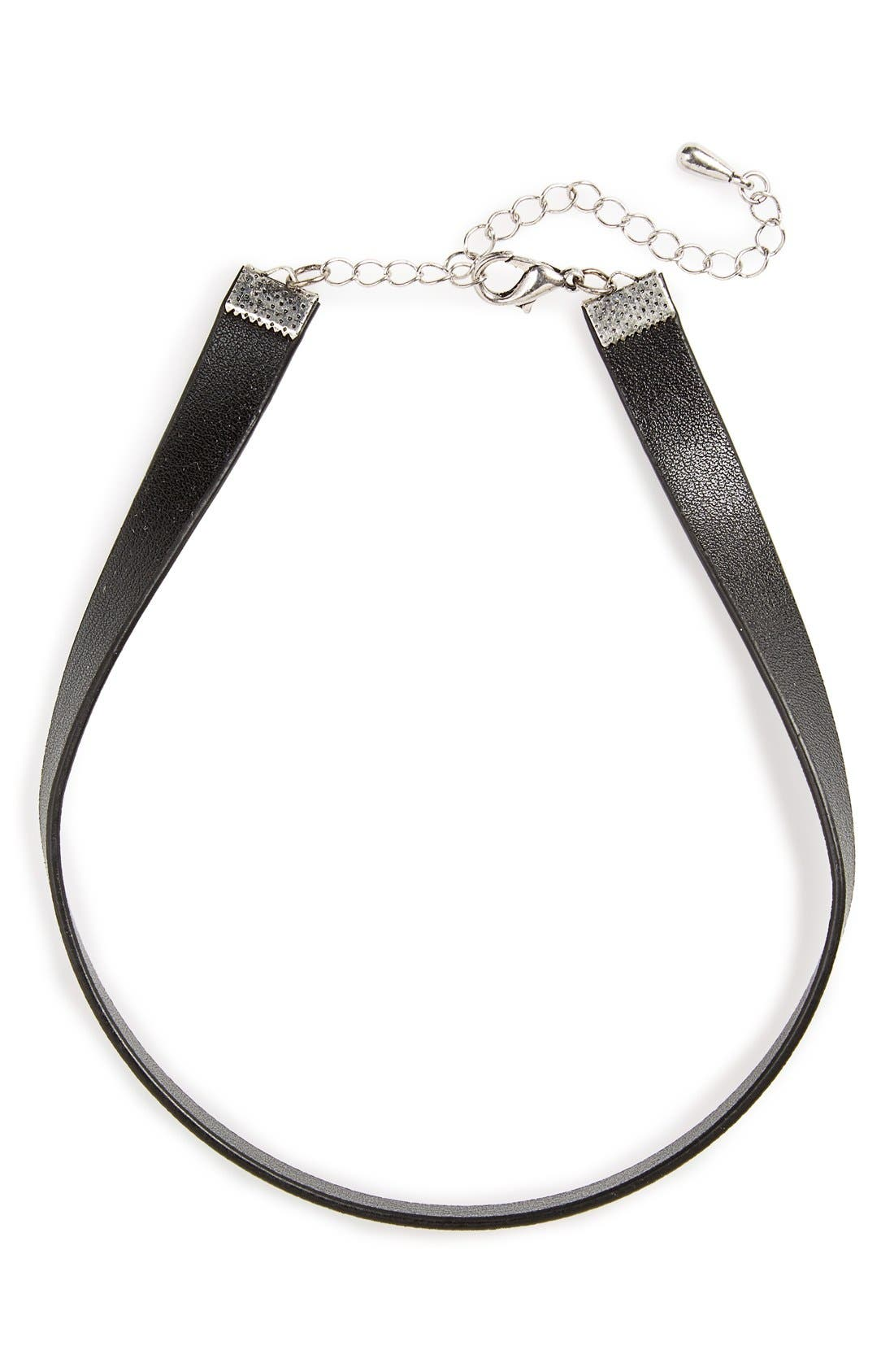 Faux Leather Choker,                             Alternate thumbnail 4, color,                             Black