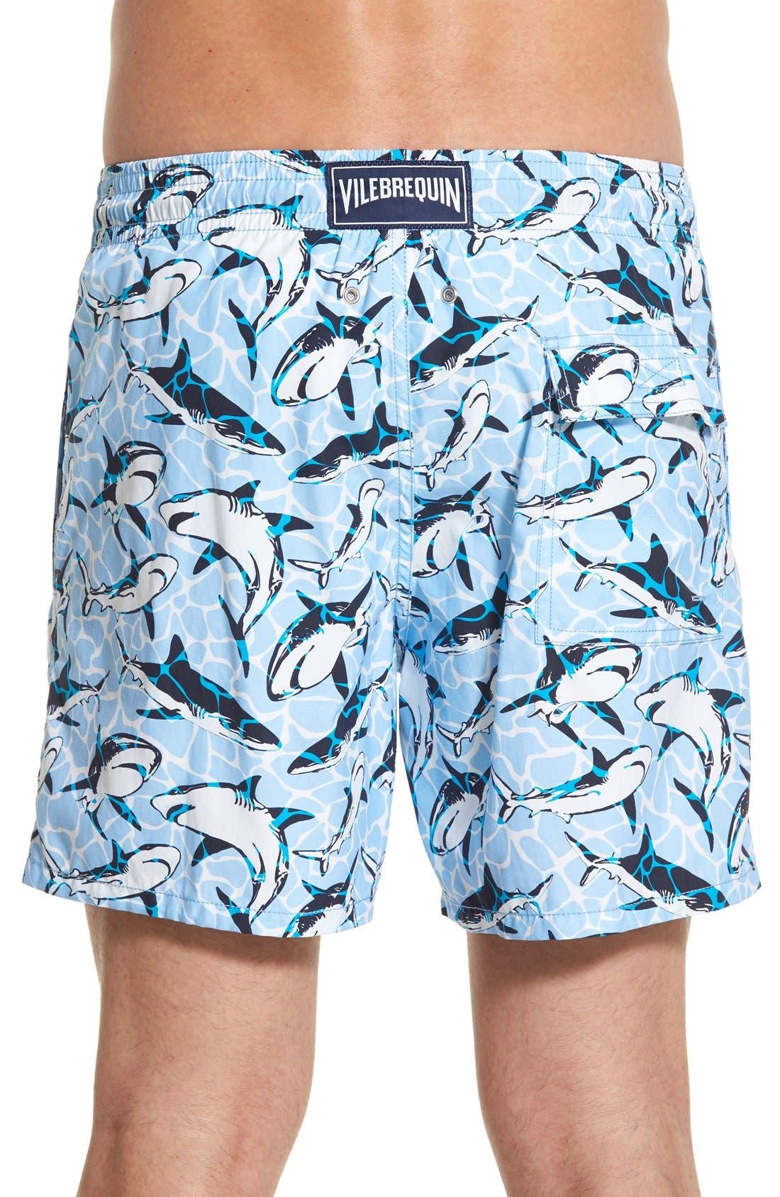 'Moorea - Sharks' Swim Trunks,                             Alternate thumbnail 2, color,                             Sky Blue