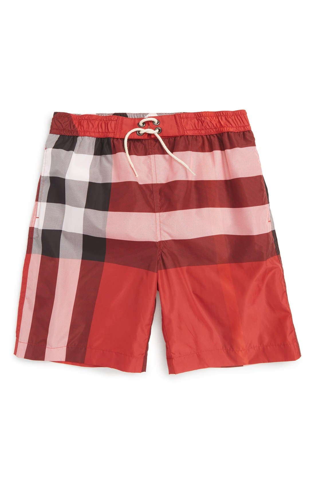 'Mini Jeffries' Swim Trunks,                             Main thumbnail 1, color,                             Parade Red