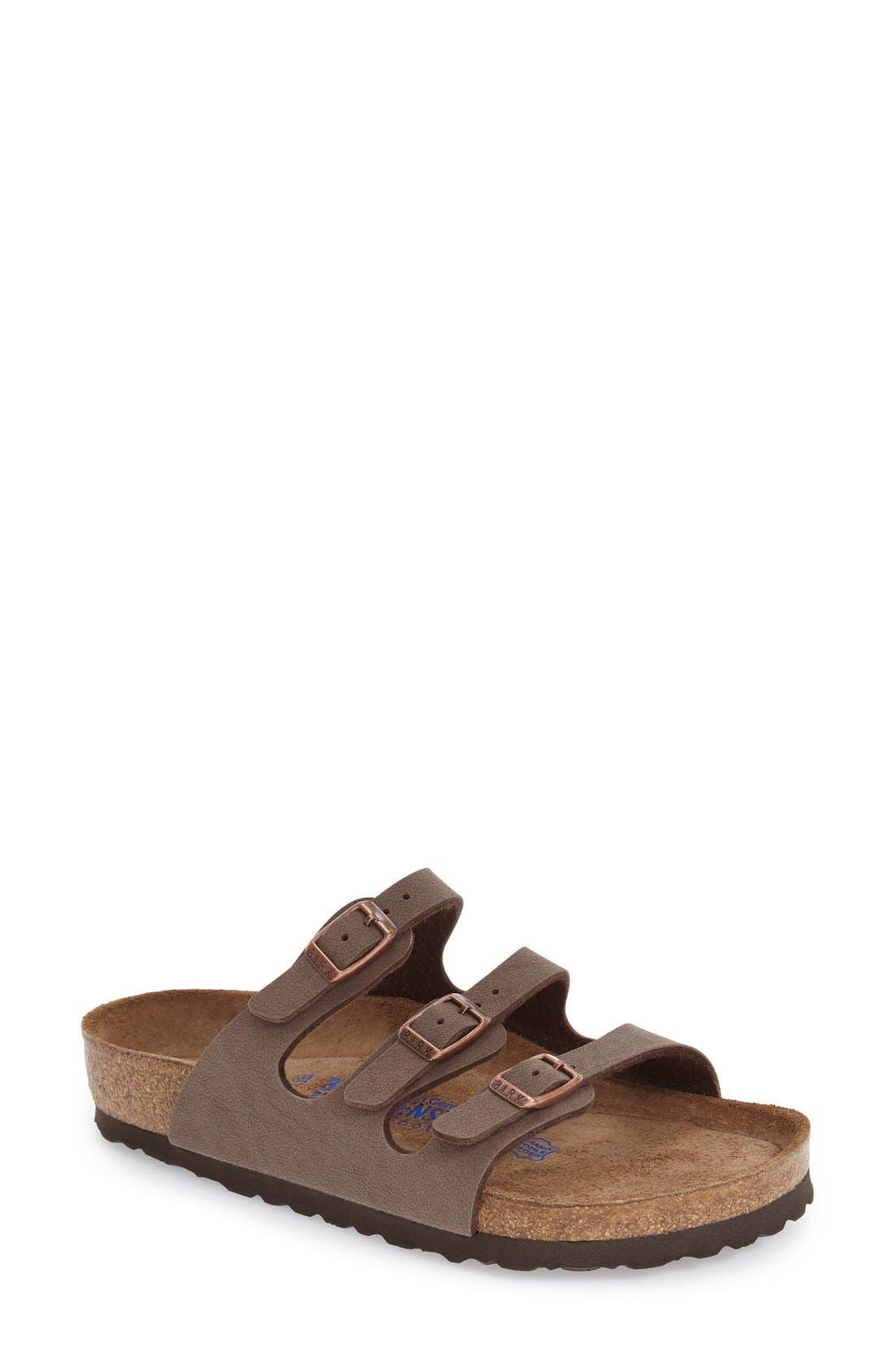 Alternate Image 1 Selected - Birkenstock 'Florida Birkibuc' Soft Footbed Sandal (Women)