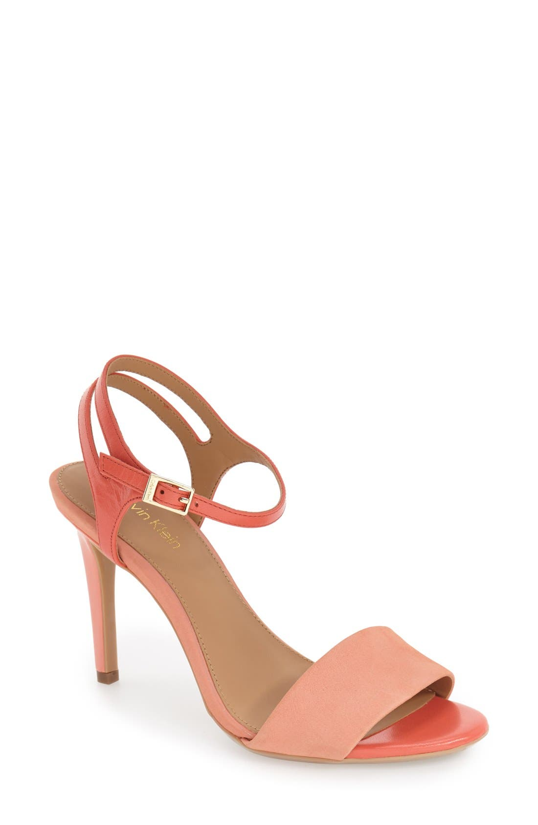 'Nadina' Ankle Strap Sandal,                             Main thumbnail 1, color,                             Salmon/ Deep Coral Leather