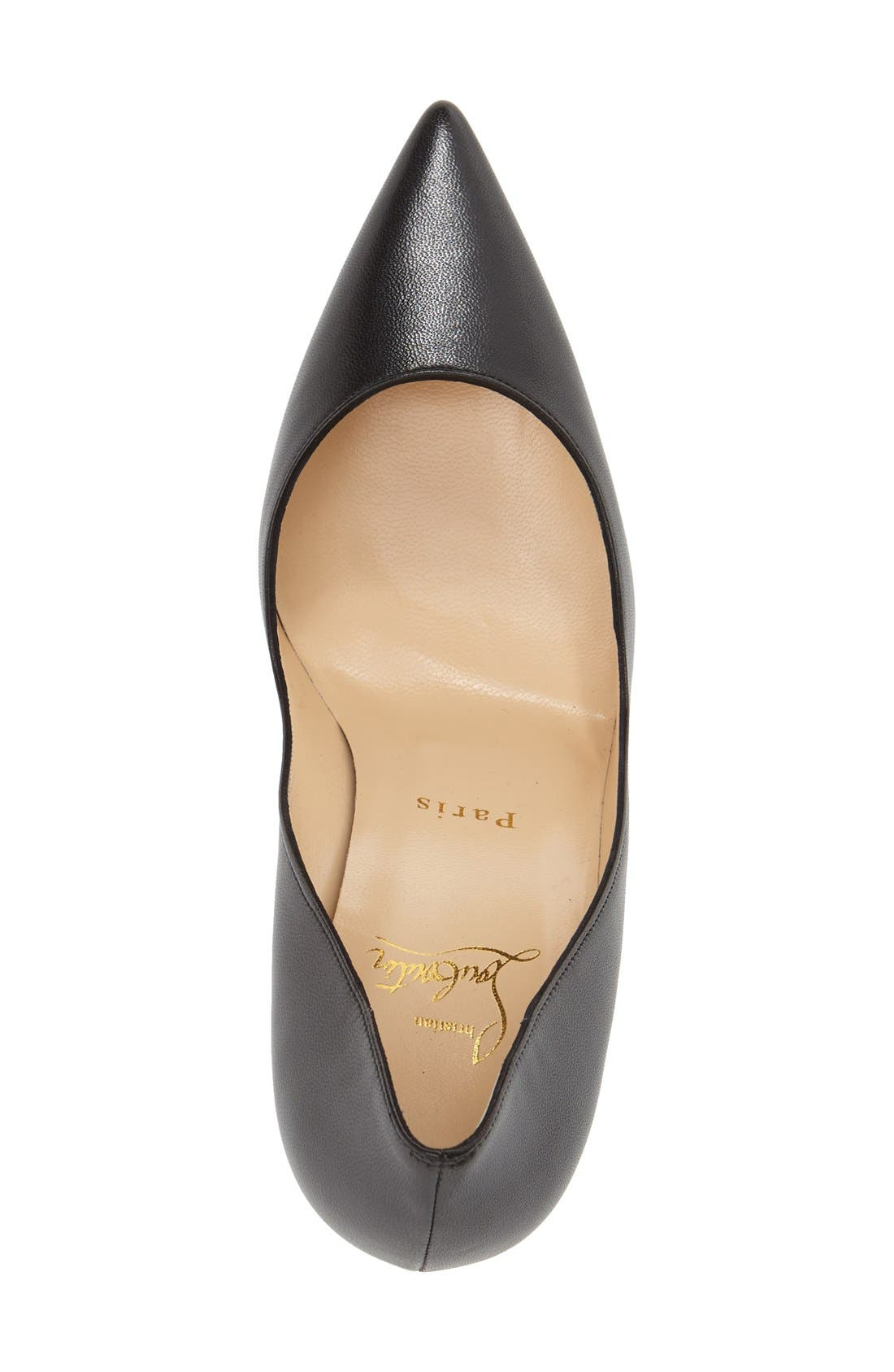 'Apostrophy' Pointy Toe Pump,                             Alternate thumbnail 3, color,                             Black Leather
