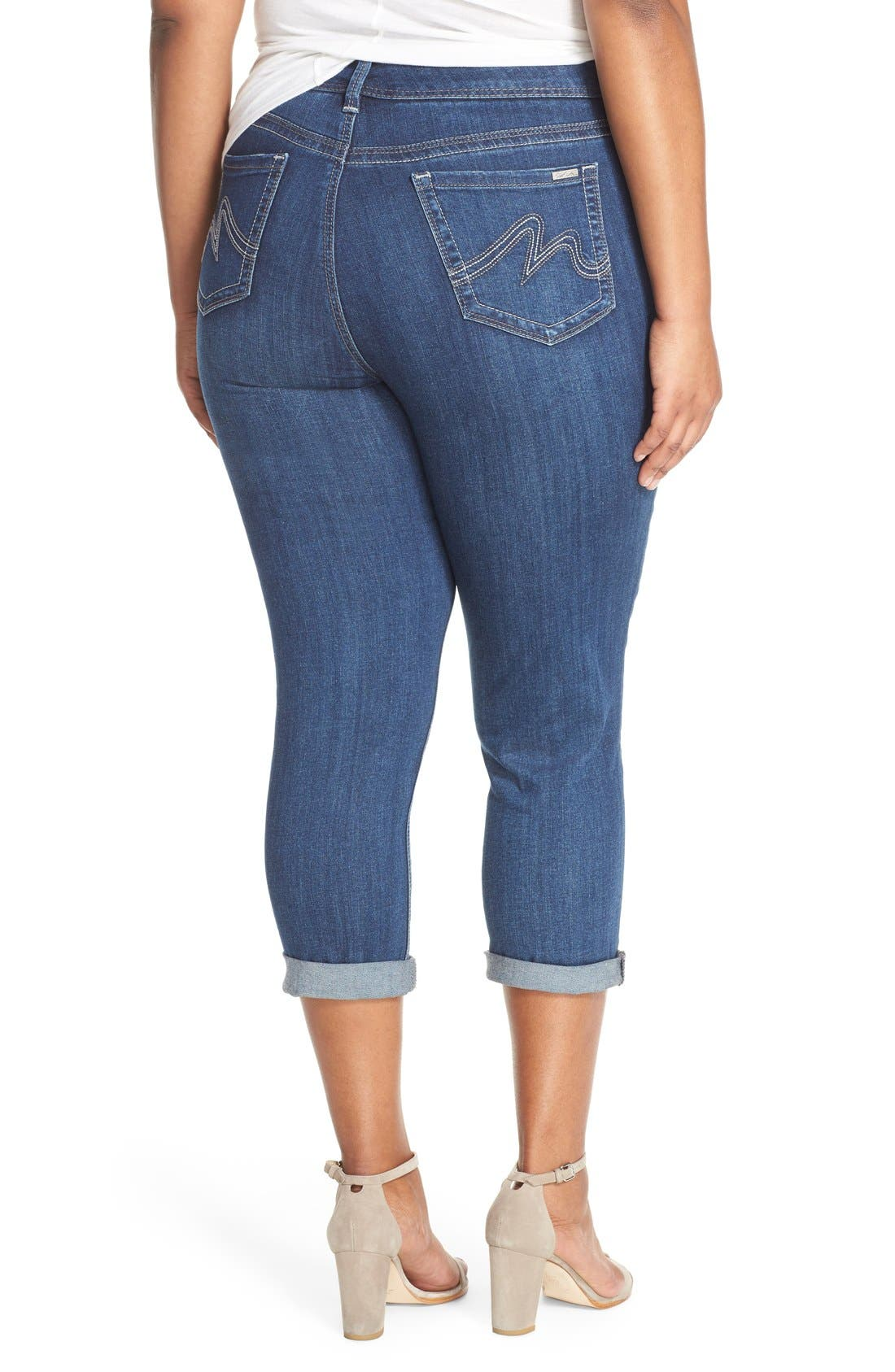 Alternate Image 2  - Melissa McCarthy Seven7 Stretch Crop Jeans (Crosby) (Plus Size)