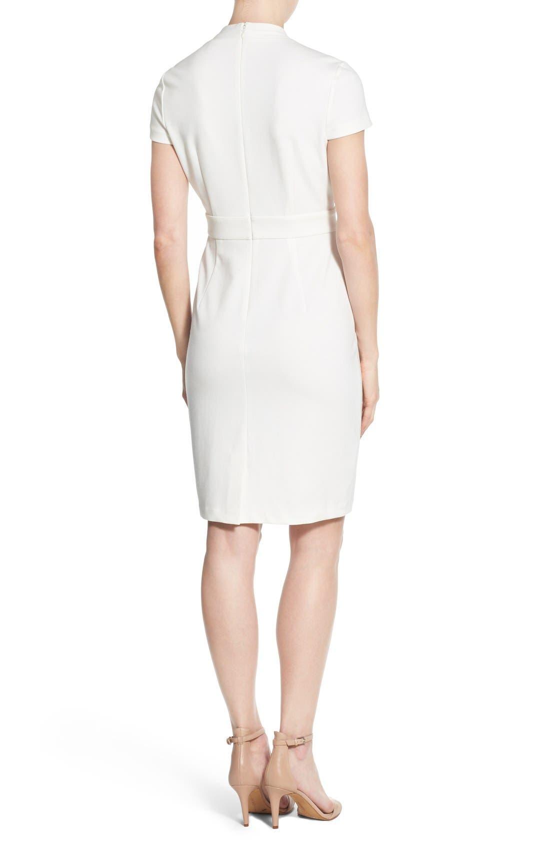 'Dale' V-Neck Sheath Dress,                             Alternate thumbnail 2, color,                             White