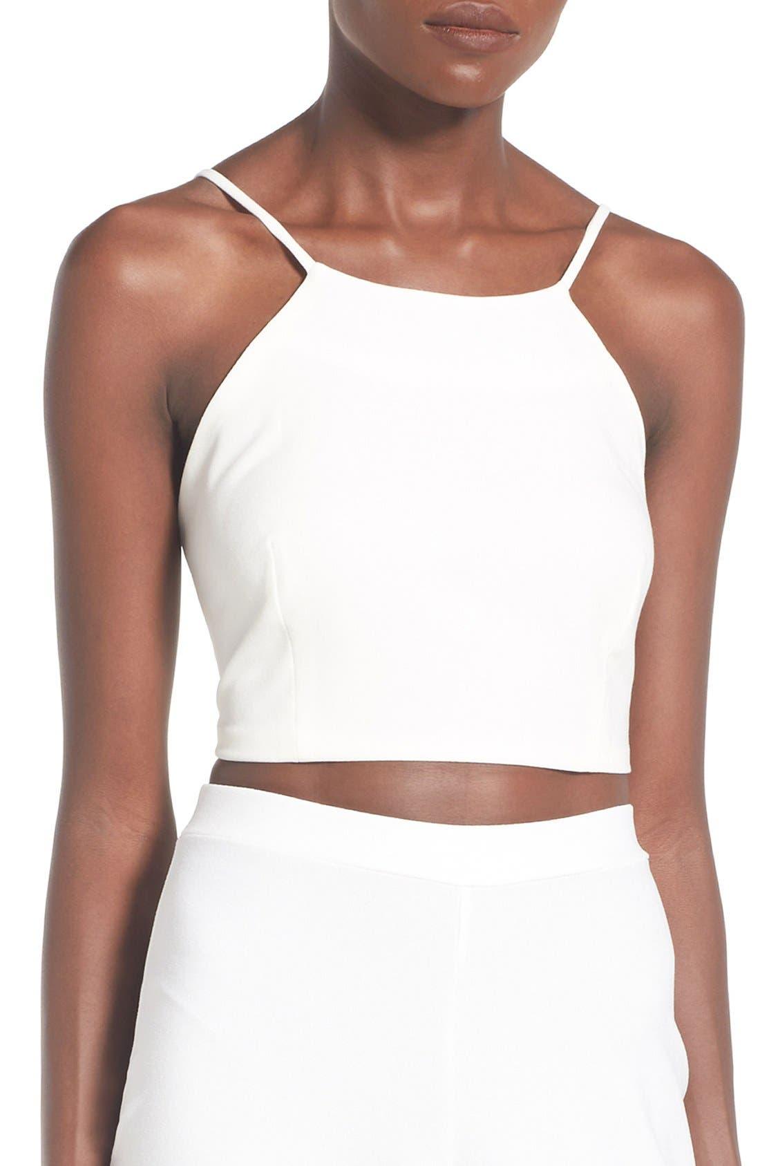 Crepe Crop Top,                         Main,                         color, White