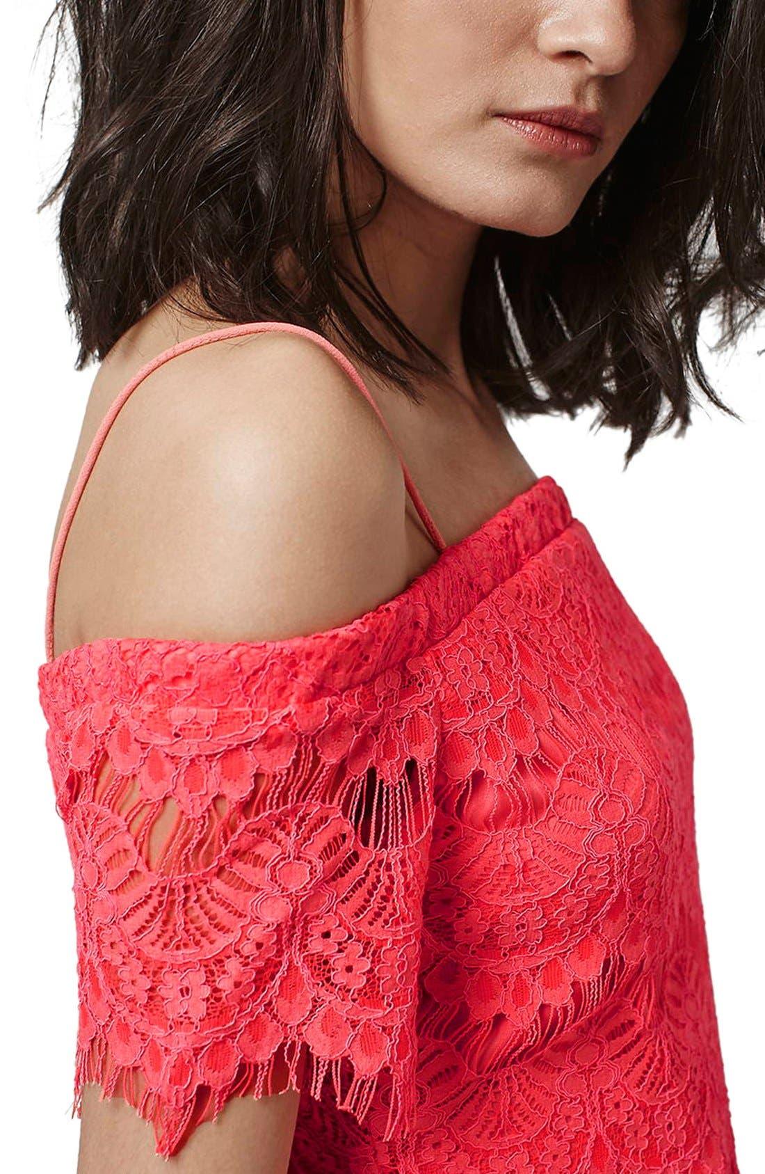 Alternate Image 5  - Topshop Off the Shoulder Lace Dress
