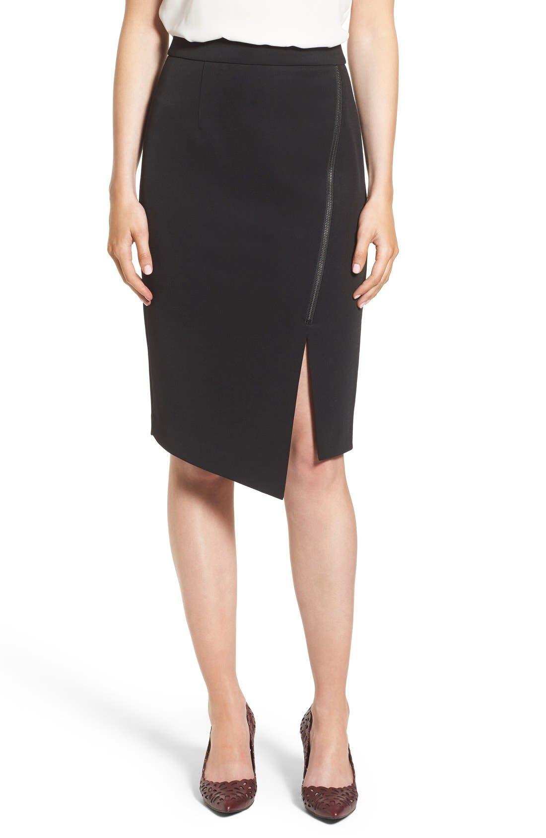 Asymmetrical Zip Pencil Skirt,                             Main thumbnail 1, color,                             Black