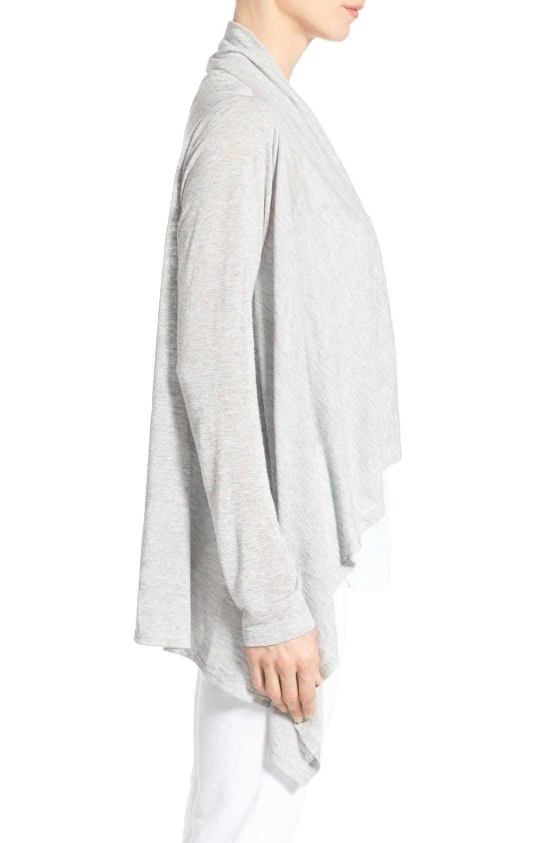 Alternate Image 3  - Bobeau Lightweight One-Button Asymmetrical Cardigan (Regular & Petite)
