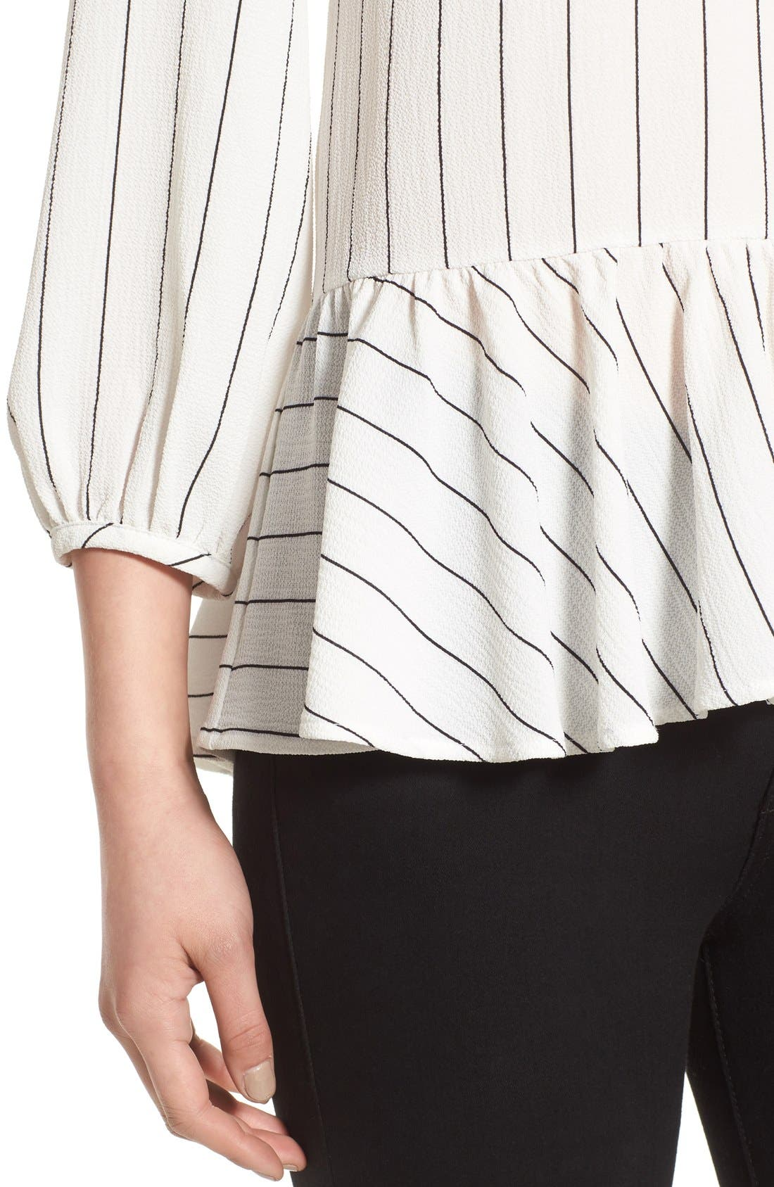 Stripe Ruffle Hem Shirt,                             Alternate thumbnail 5, color,                             Ivory Jules Stripe