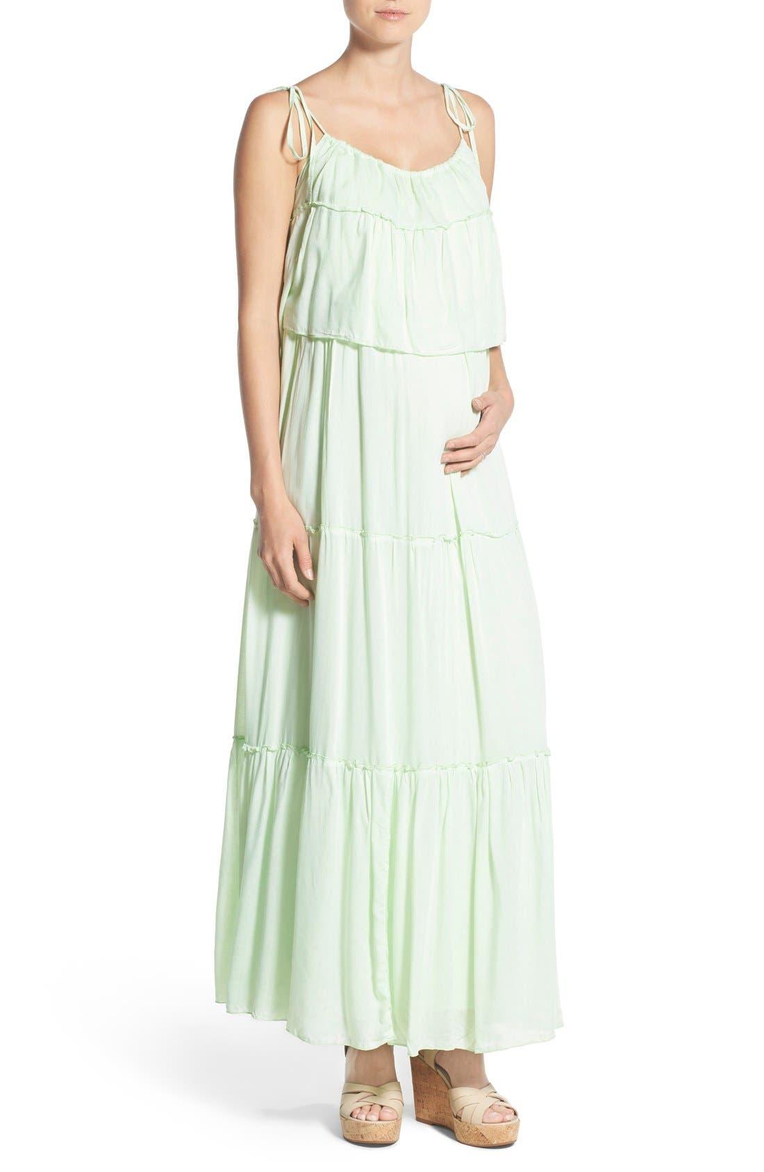 'Songbird' Popover Maternity/Nursing Maxi Dress,                         Main,                         color, Mint