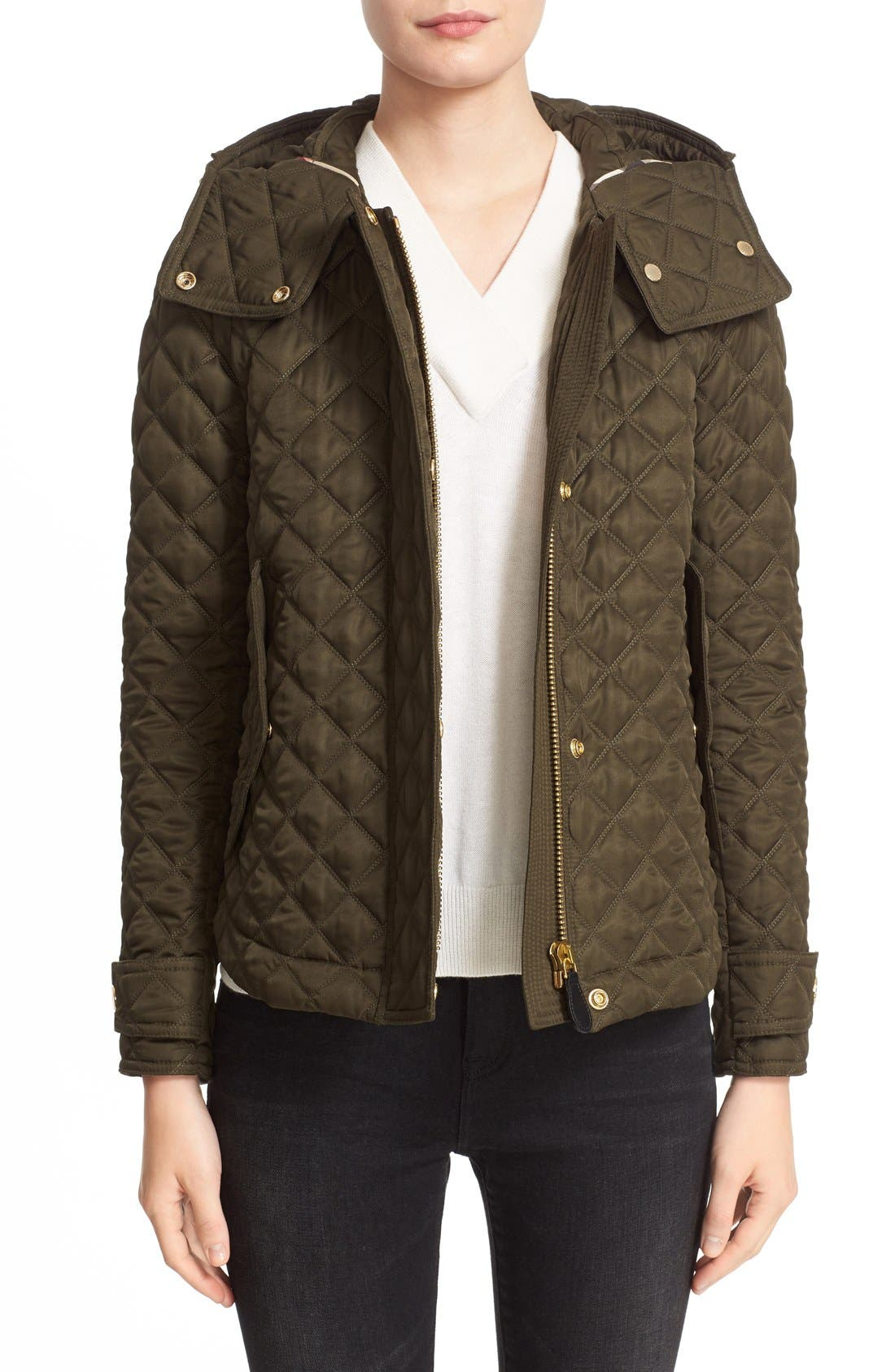 'Leightonbury' Quilted Hooded Jacket,                         Main,                         color, Dark Olive