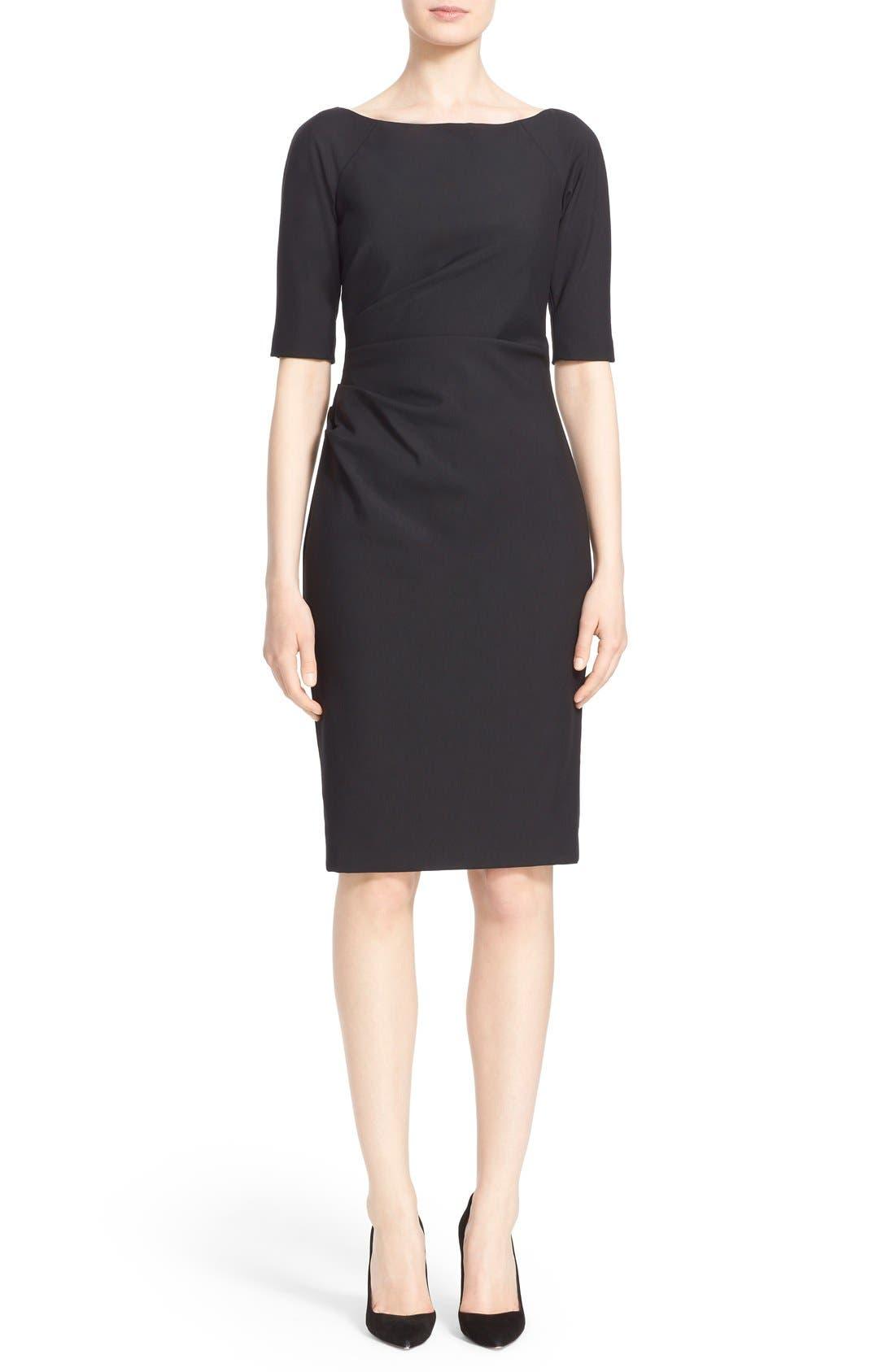 Main Image - Lela Rose Side Ruched Stretch Twill Dress