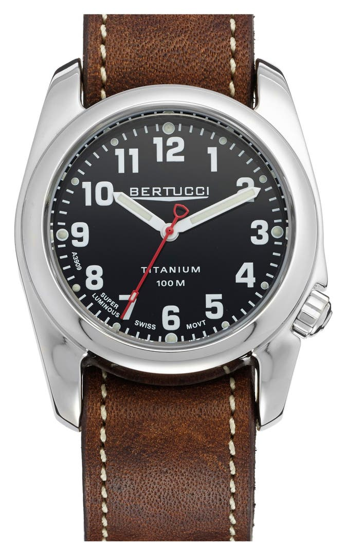 Bertucci watches 39 a 2t highpolish 39 leather strap watch 40mm nordstrom for Watches 40mm