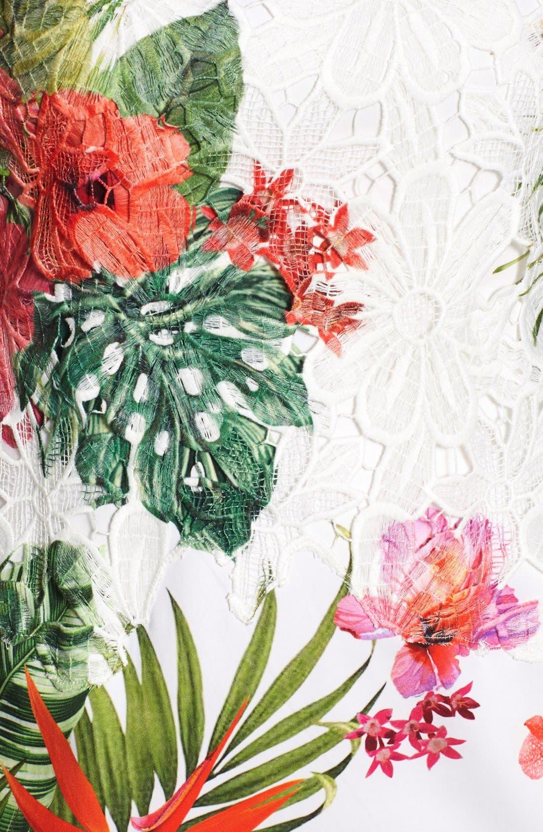 Alternate Image 5  - Elie Tahari 'Weslee' Tropical Print Lace Overlay Sheath Dress