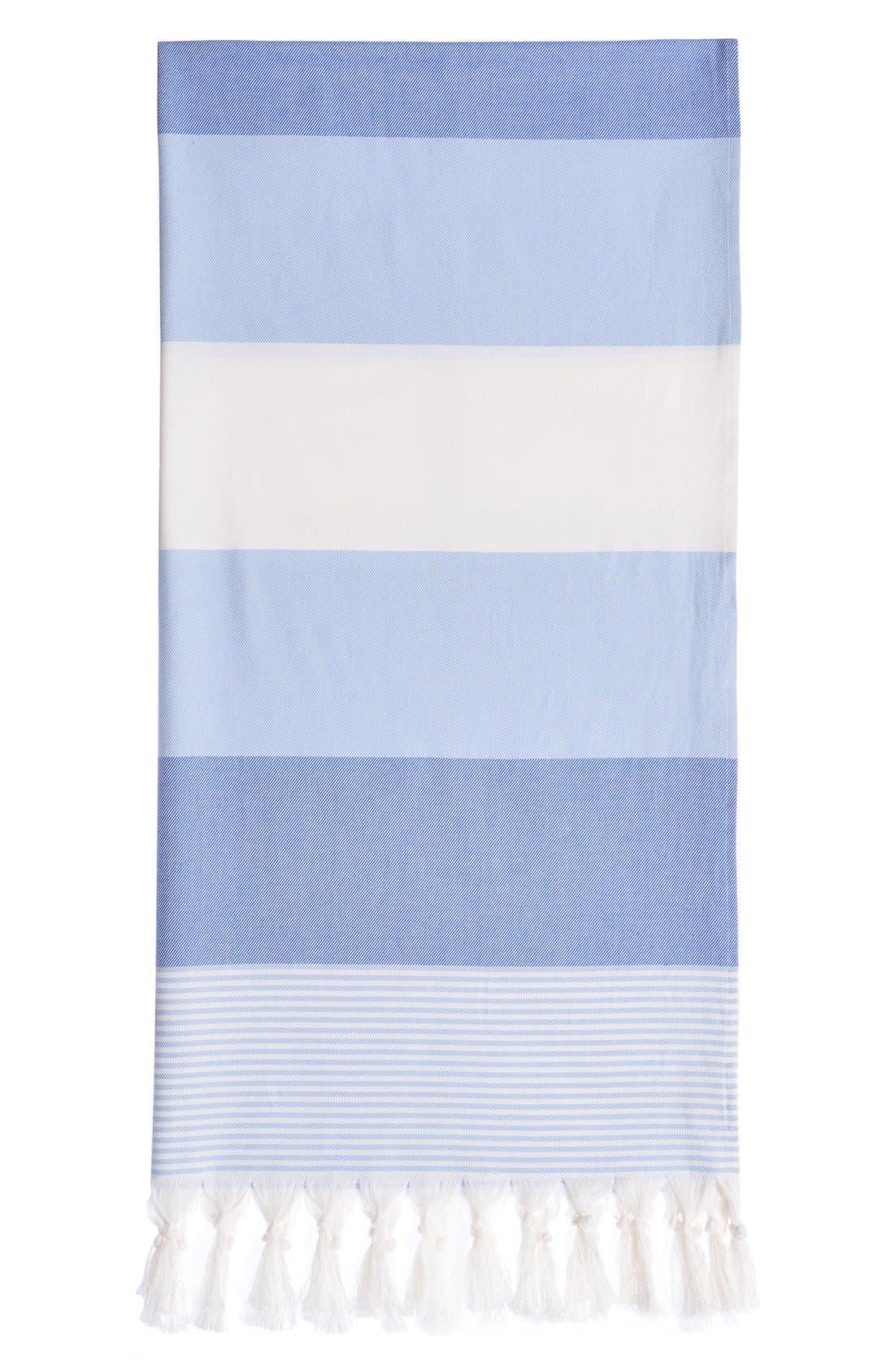 'Sea Waves' Turkish Pestemal Towel,                             Main thumbnail 1, color,                             Ocean Blue