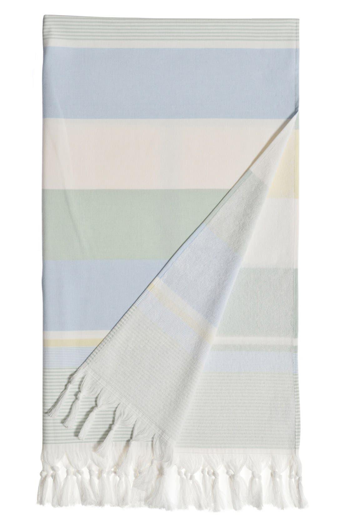 'Summer Loving' Turkish Pestemal Towel,                             Main thumbnail 1, color,                             Sky Blue