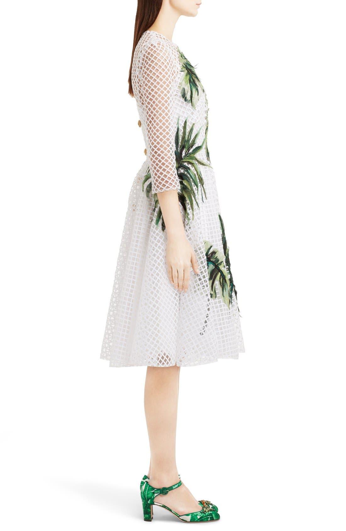 Alternate Image 4  - Dolce&Gabbana Banana Leaf Embellished Mesh Lace Dress