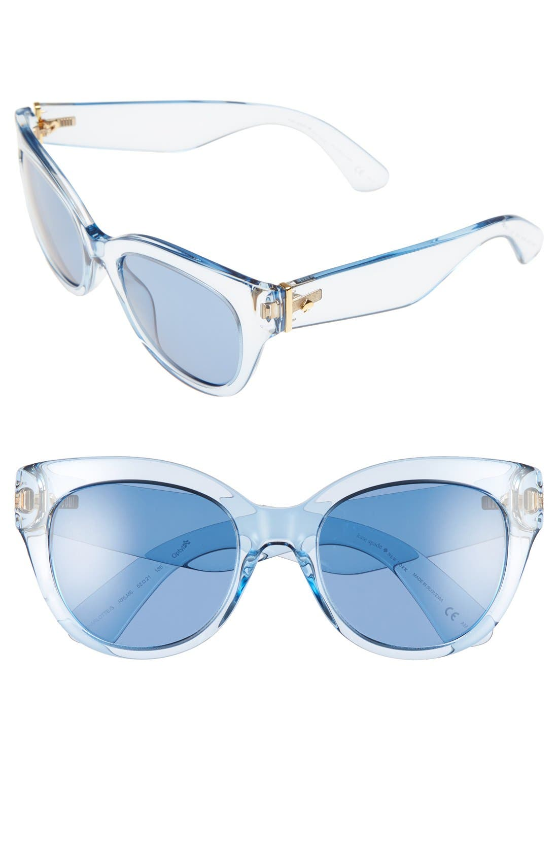 'sharlots' 52mm sunglasses,                         Main,                         color, Blue