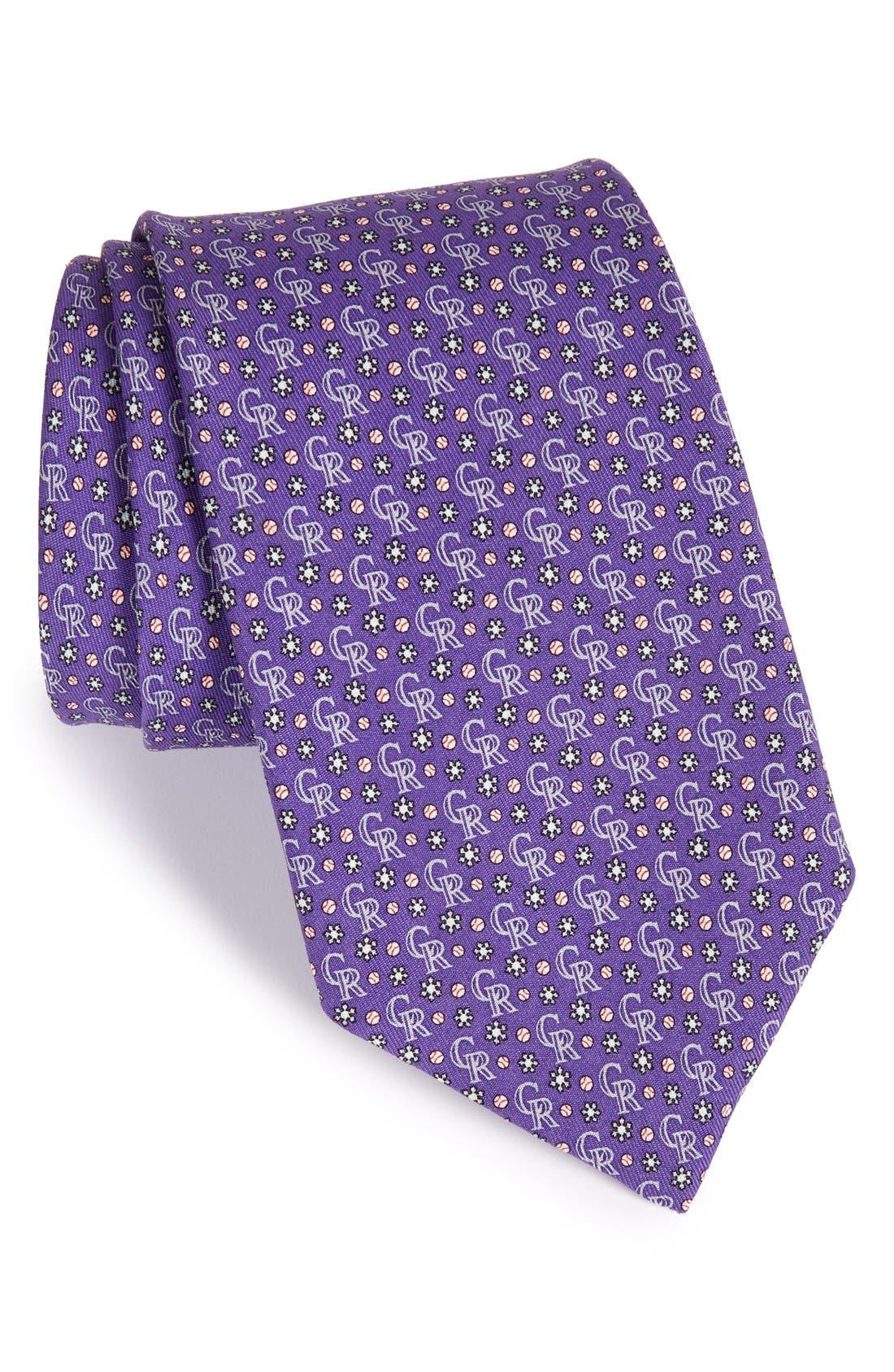 'Colorado Rockies' Woven Silk Tie,                         Main,                         color, Purple