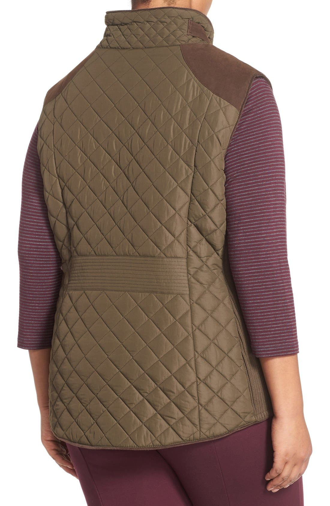Quilted Vest with Faux Suede Trim,                             Alternate thumbnail 2, color,                             Fatigue