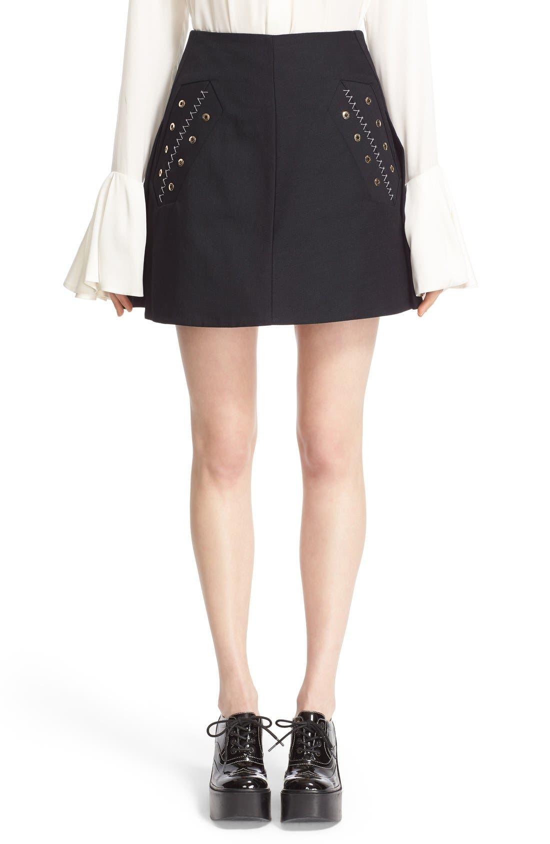 Main Image - ELLERY 'Helena' Eyelet Detail Miniskirt