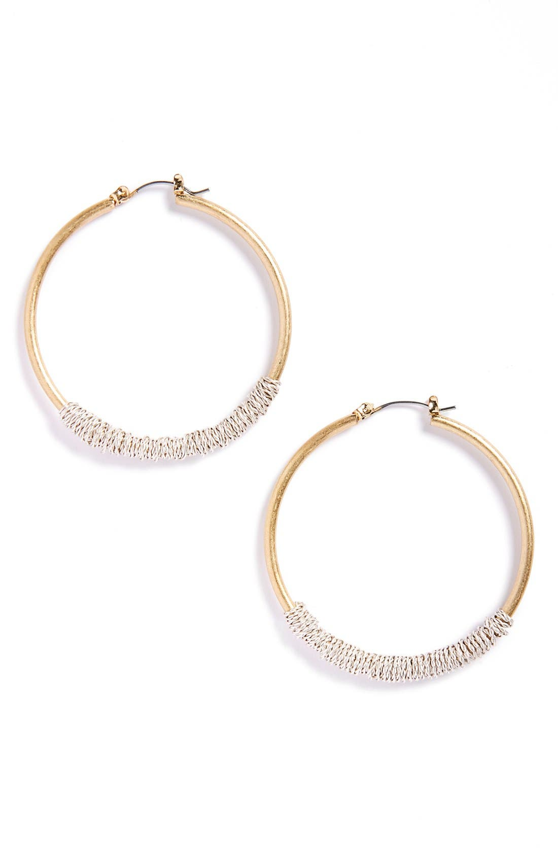 Wire Wrapped Crystal Hoop Earrings,                         Main,                         color, Gold