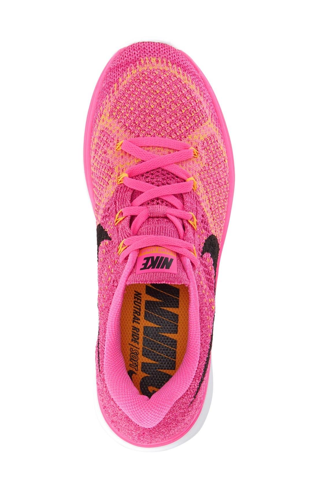 'Flyknit Lunar 3' Running Shoe,                             Alternate thumbnail 4, color,                             Pink Blast/ Black/ Orange