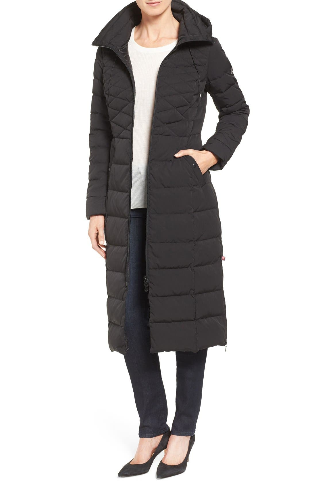 Bernardo Quilted Long Coat with Down & PrimaLoft® Fill