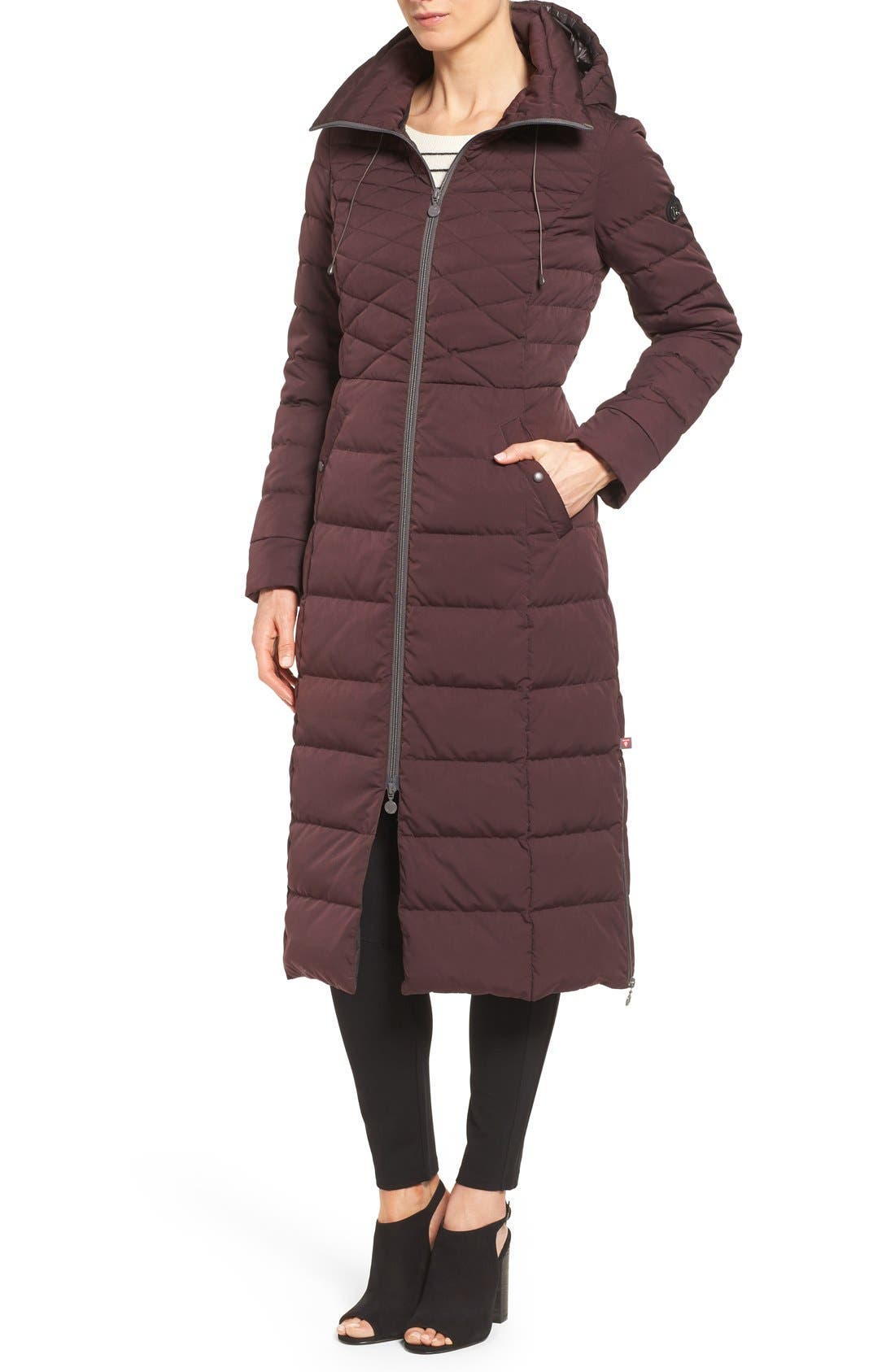 Quilted Long Coat with Down & PrimaLoft<sup>®</sup> Fill,                             Alternate thumbnail 4, color,                             Dark Plum
