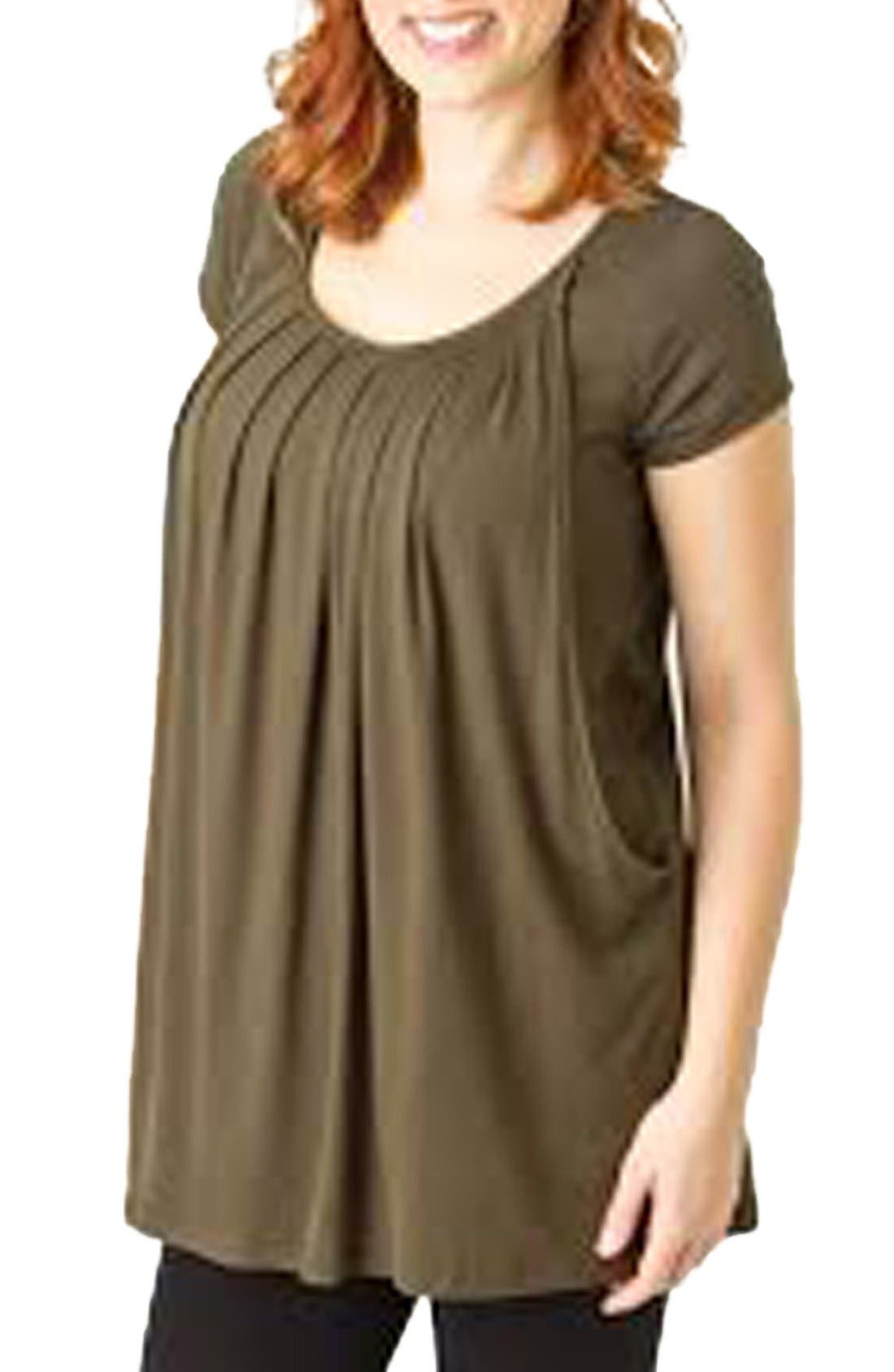 'The Short Sleeve' Pleated Maternity/Nursing Top,                         Main,                         color, Olive