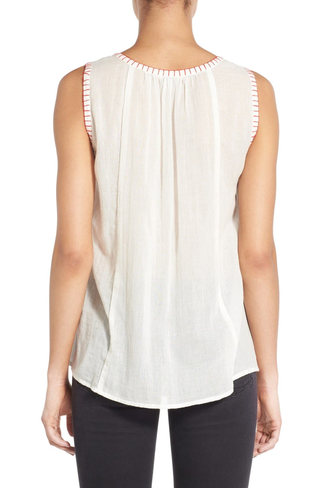 Alternate Image 2  - Lucky Brand Embroidered Bib Cotton Tank