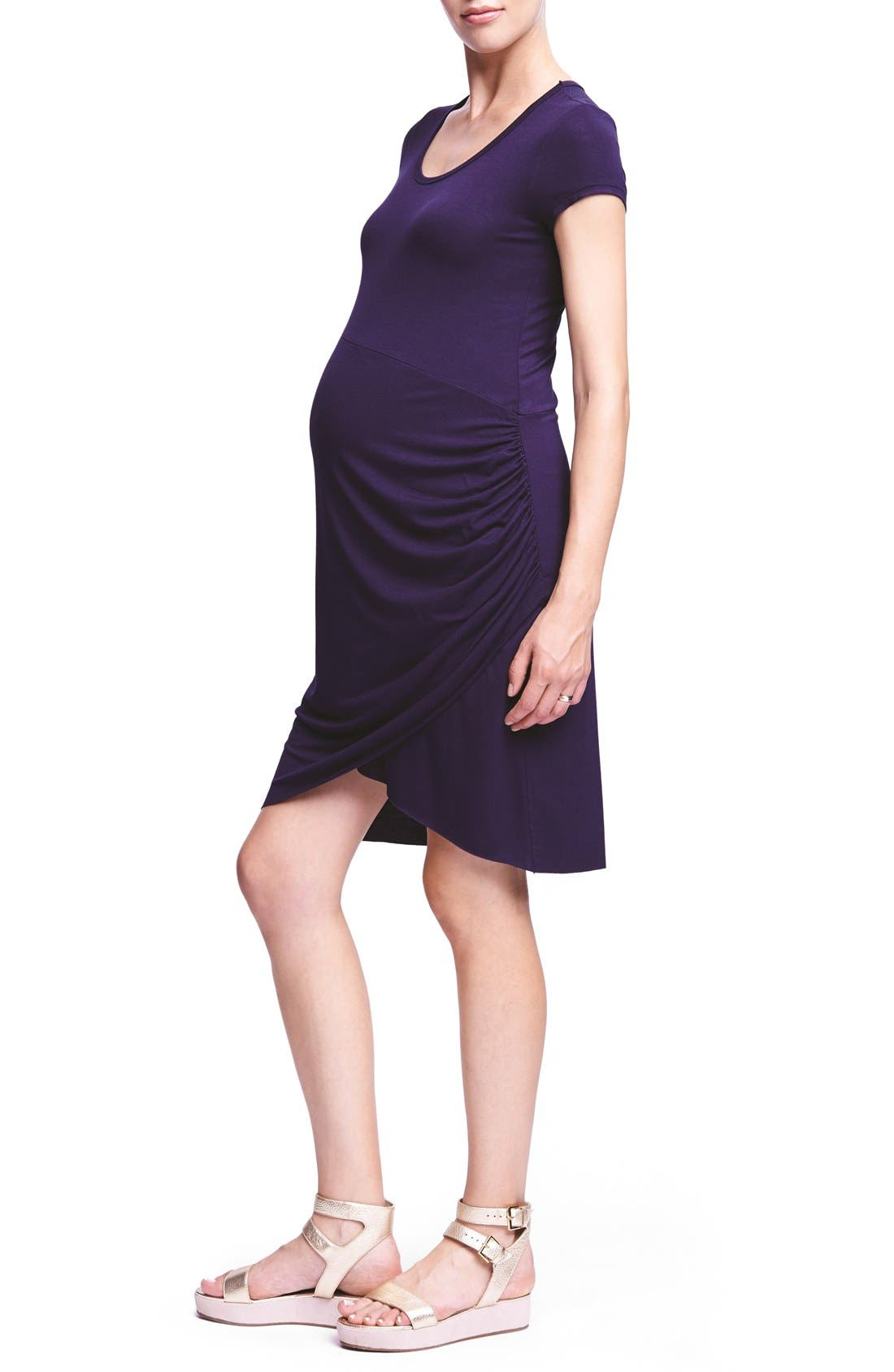 Ruched Maternity T-Shirt Dress,                         Main,                         color, Navy