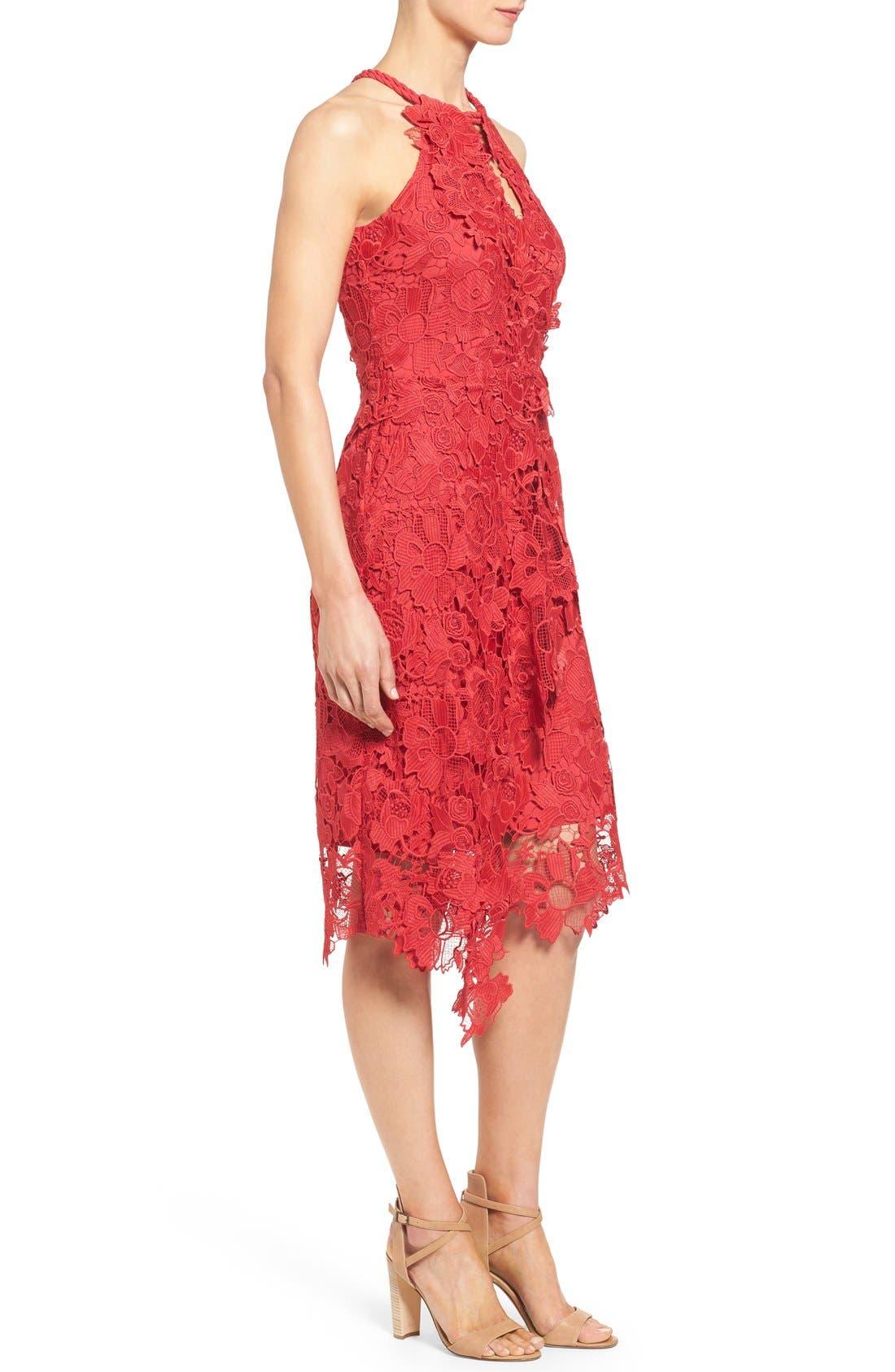 Alternate Image 3  - Kobi Halperin 'Jade' Asymmetrical Hem Halter Style Lace Dress