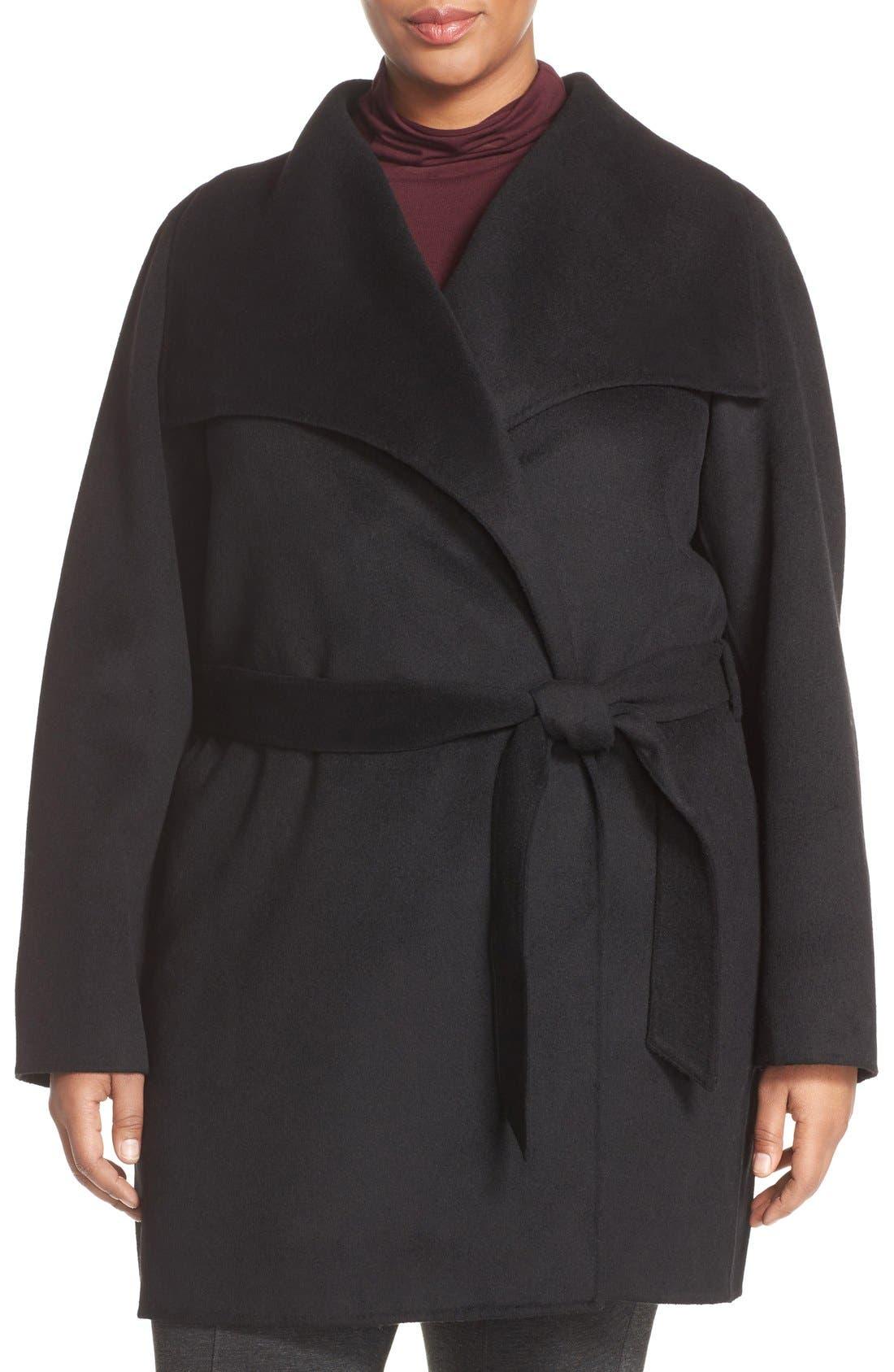 Alternate Image 1 Selected - Tahari 'Ella' Wrap Coat (Plus Size)