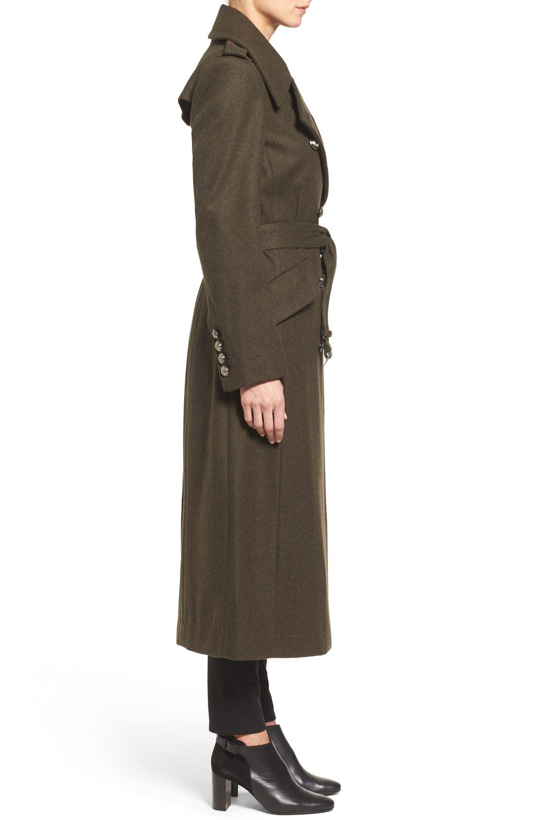 Double Breasted Trench Coat,                             Alternate thumbnail 3, color,                             Olive