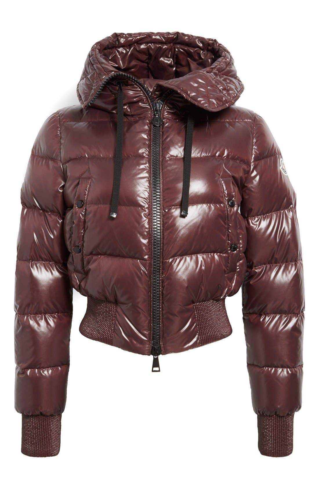 Alternate Image 4  - Moncler 'Sotiria' Water Resistant Shiny Nylon Down Bomber Jacket