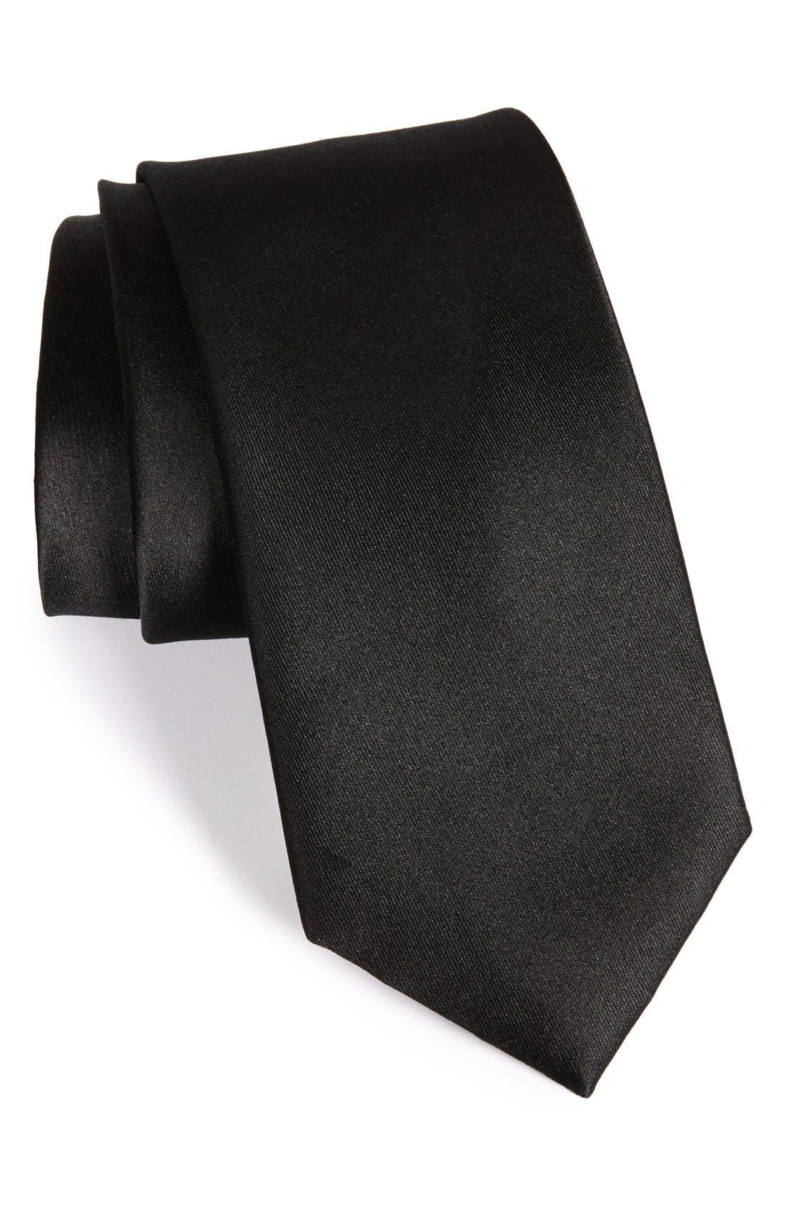 Solid Satin Silk Tie,                         Main,                         color, Black