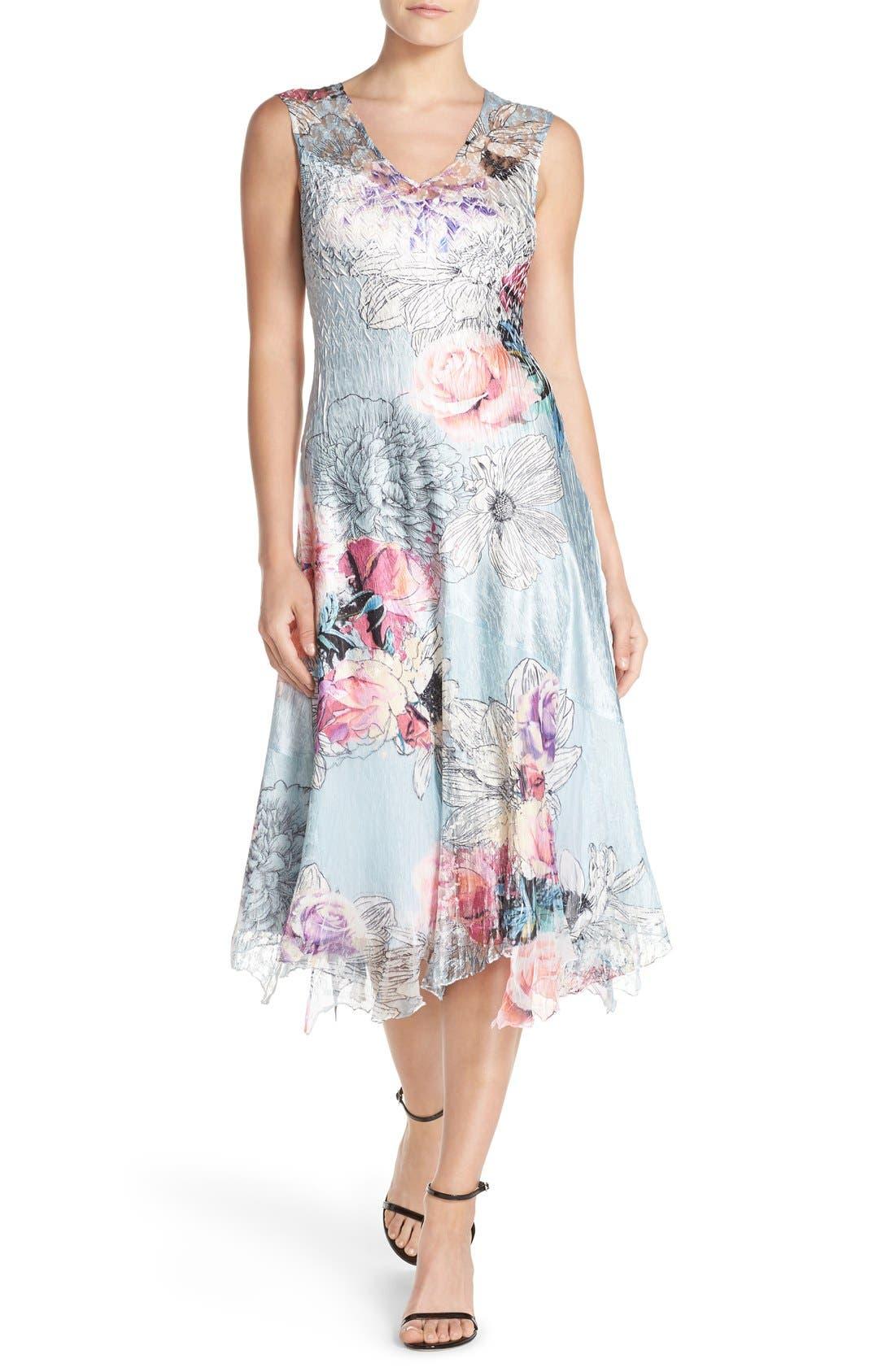 Alternate Image 1 Selected - Komarov Mixed Media Midi Dress (Regular & Petite)