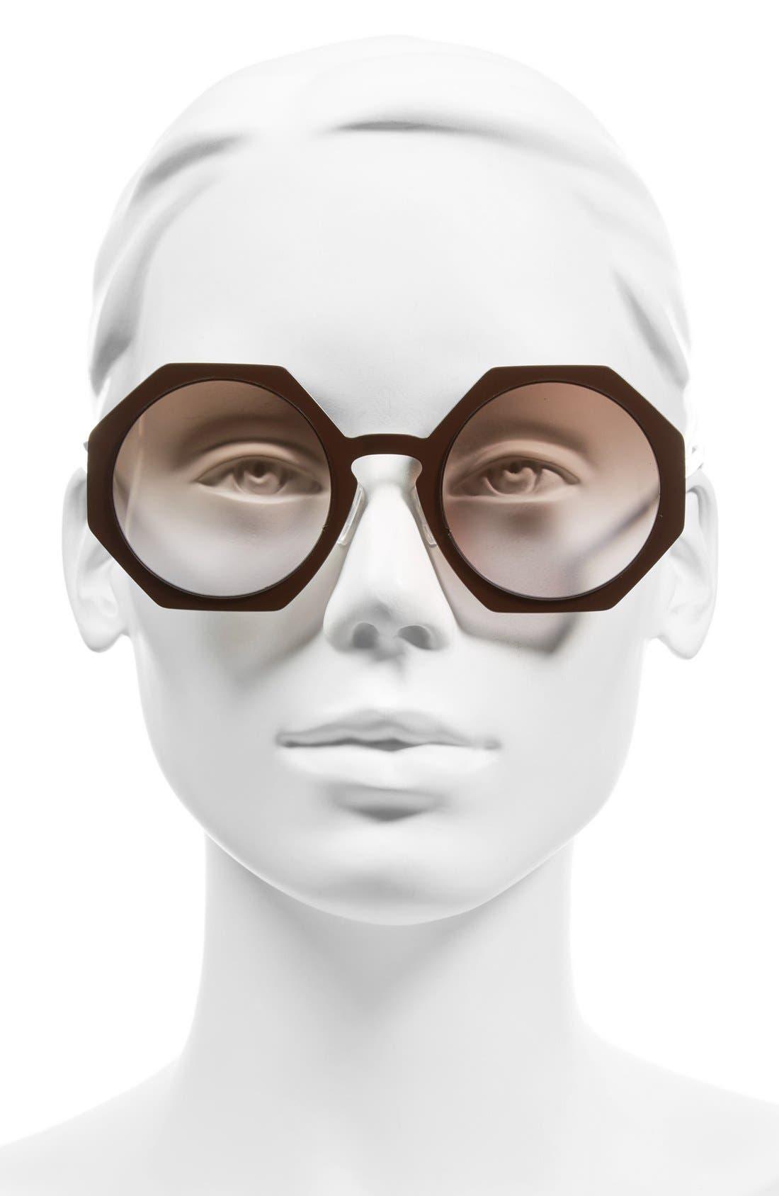 51mm Retro Octagon Sunglasses,                             Alternate thumbnail 2, color,                             Brown