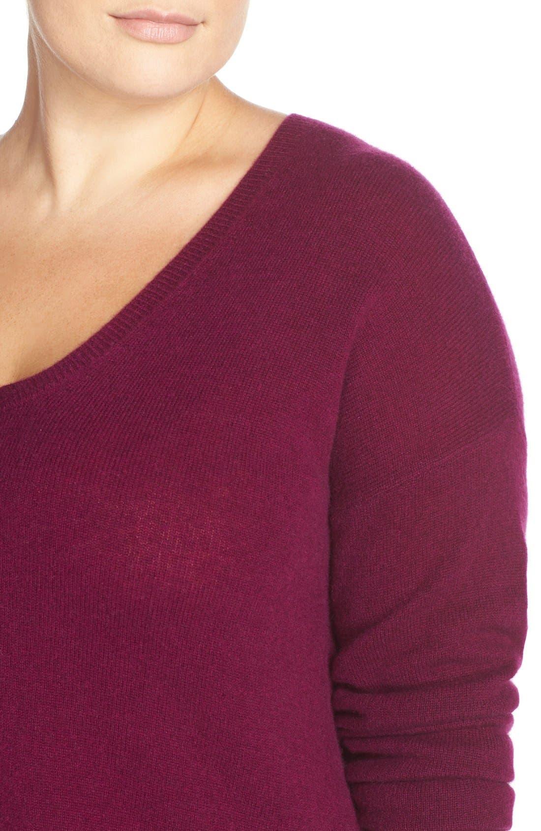 Alternate Image 5  - Halogen® V-Neck Cashmere Sweater (Plus Size)