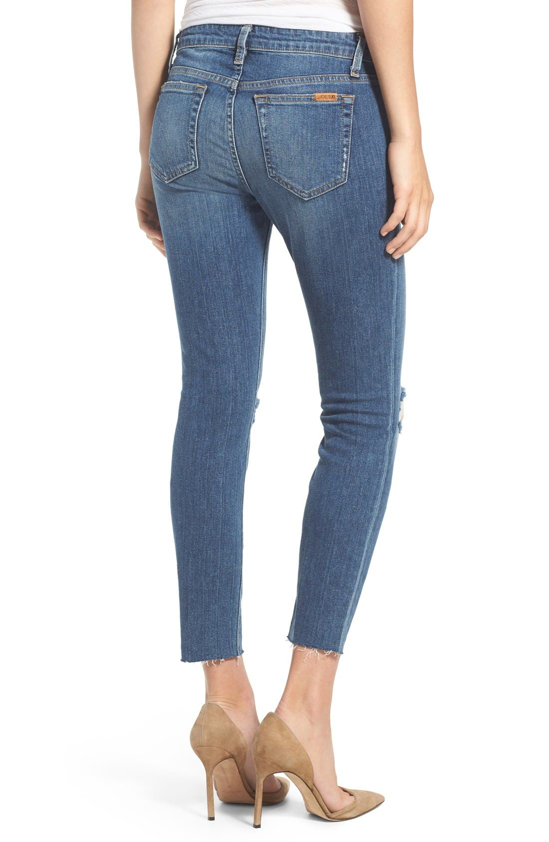 'Icon' Distressed Crop Skinny Jeans,                             Alternate thumbnail 2, color,                             Teague