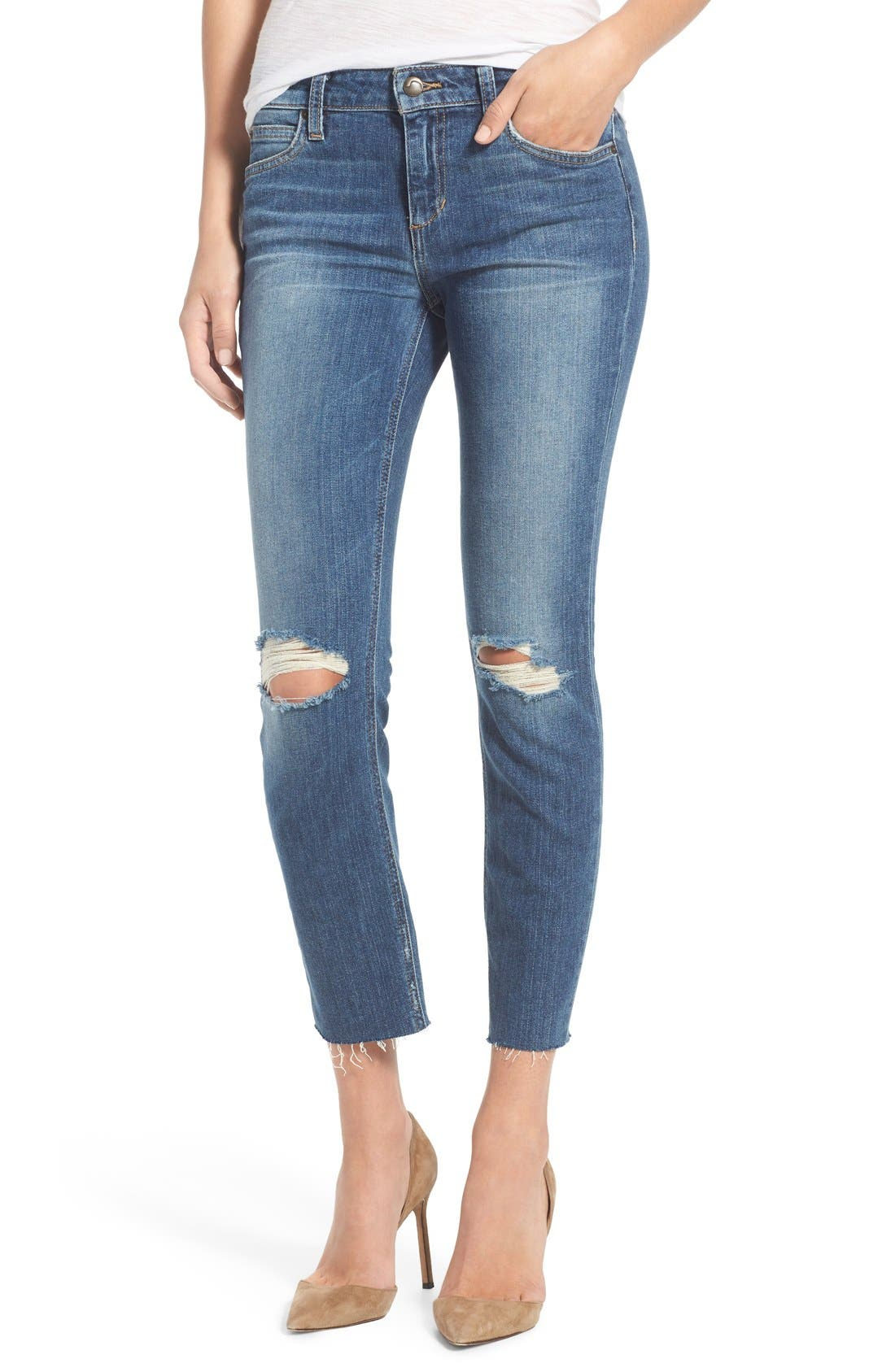 'Icon' Distressed Crop Skinny Jeans,                             Main thumbnail 1, color,                             Teague