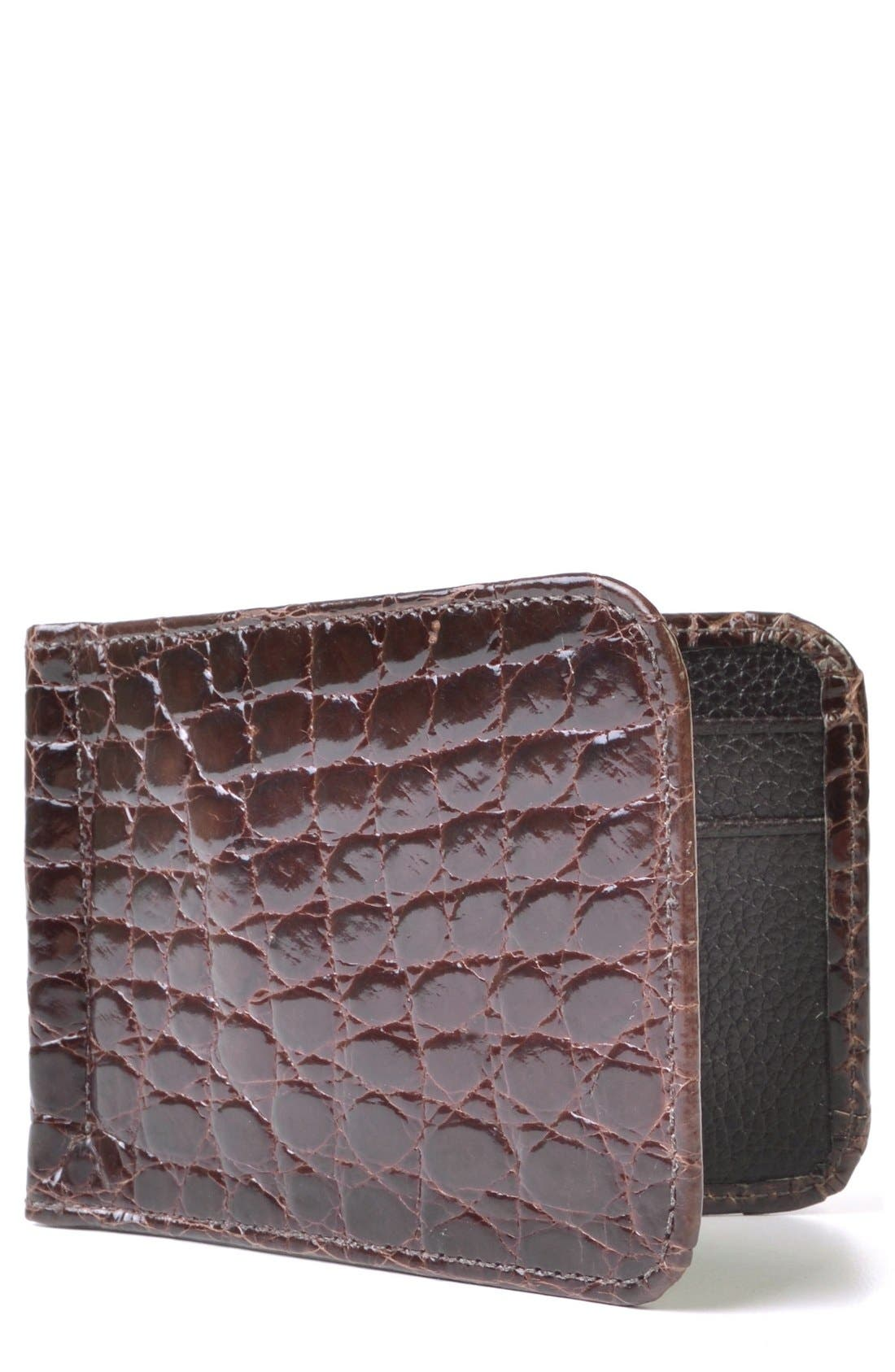 'Joseph' Genuine American Alligator Leather Money Clip Wallet,                         Main,                         color, Brown